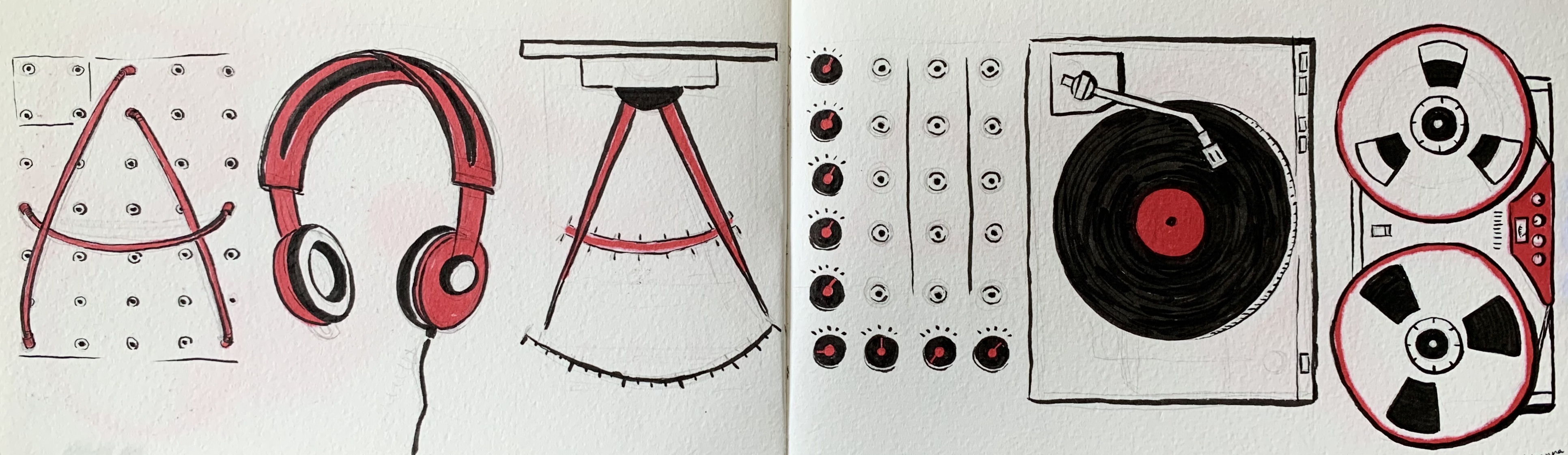 a google doodle influenced drawing by alleanna harris of the word analog composed of wires, headphones, knobs, a turn table, and a reel to reel.