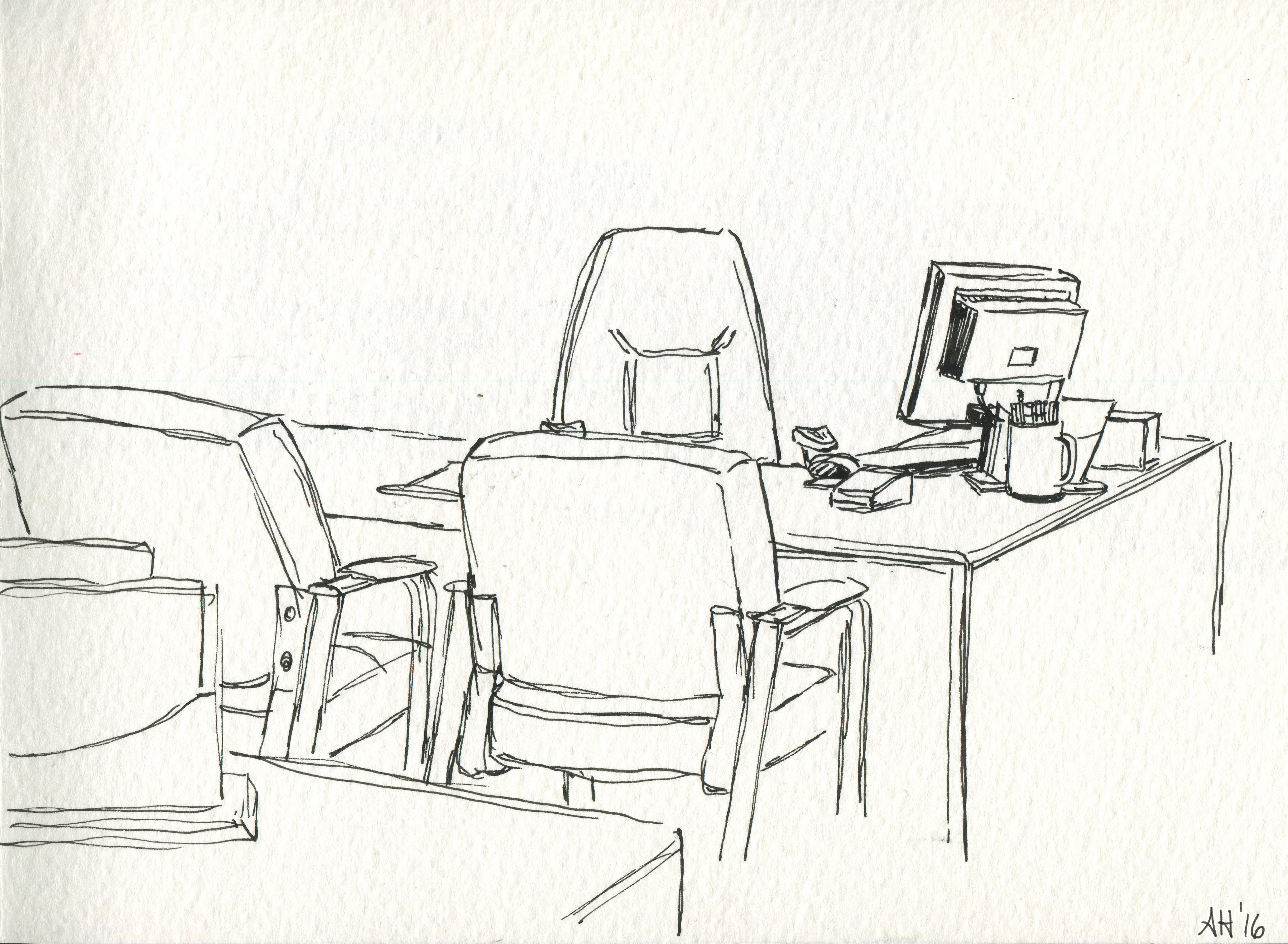 a sketch of an empty office desk at a bank by alleanna harris