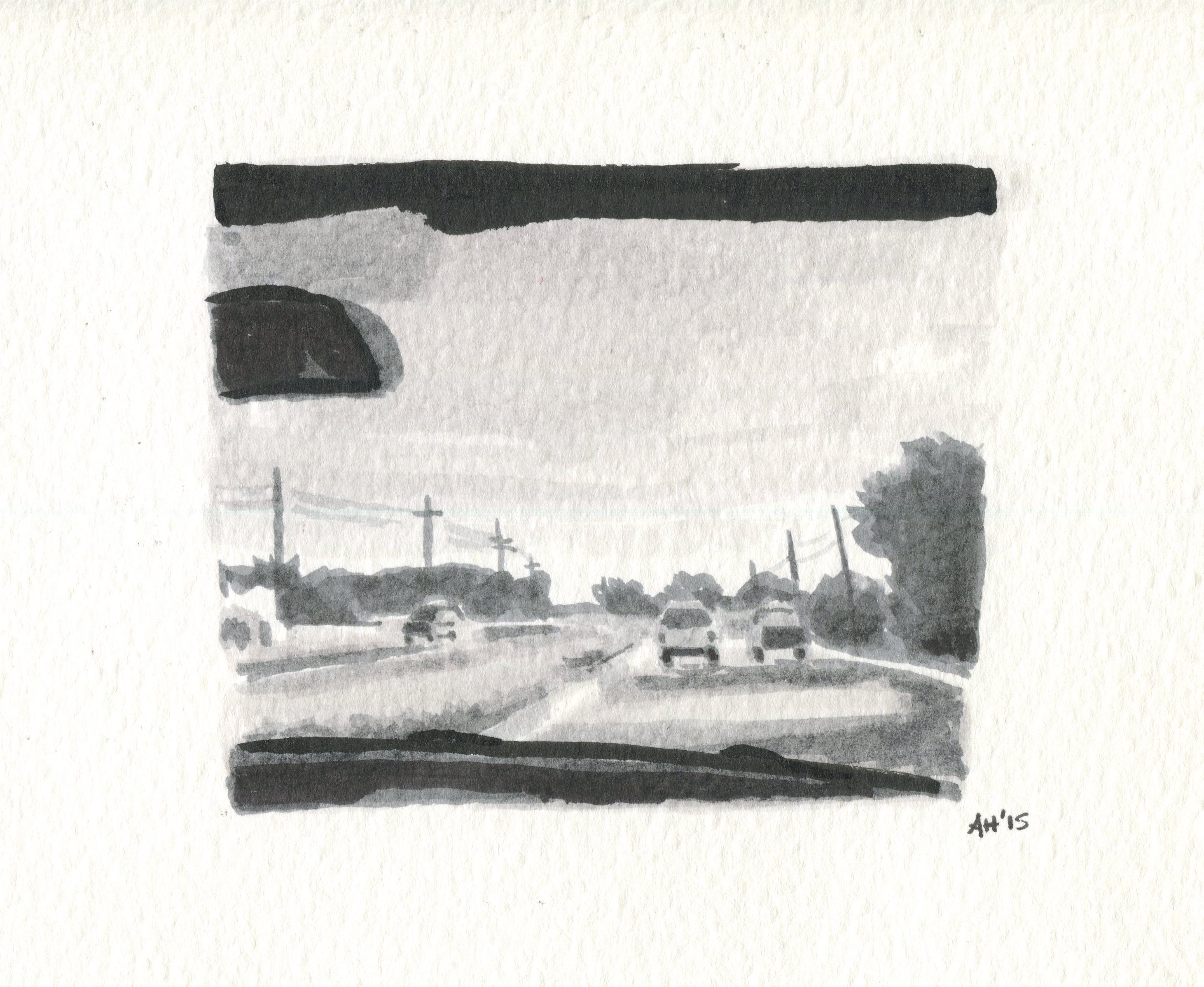 a sketch of a busy road by alleanna harris
