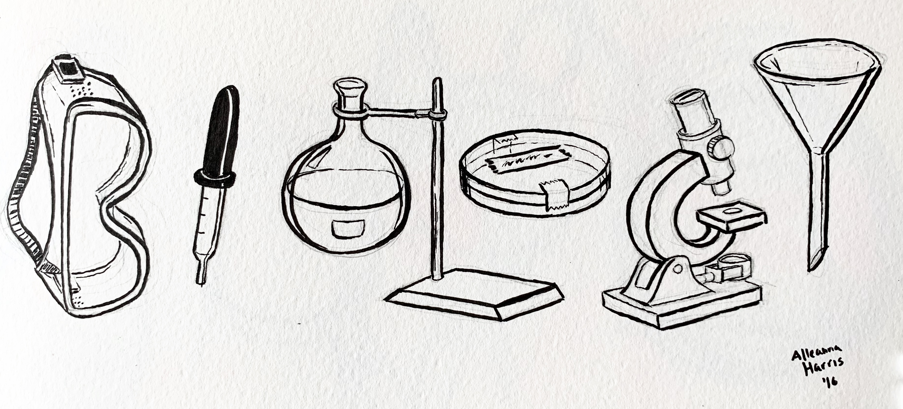 A google doodle influenced drawing by alleanna harris of the word biology made up up drawings of goggles, a dropper, a flask, a petri disk, a microscope, and a funnel.
