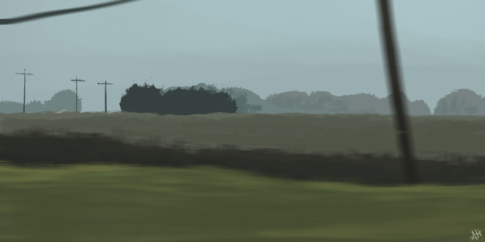 a color study by alleanna harris of the view of farm land from the car window