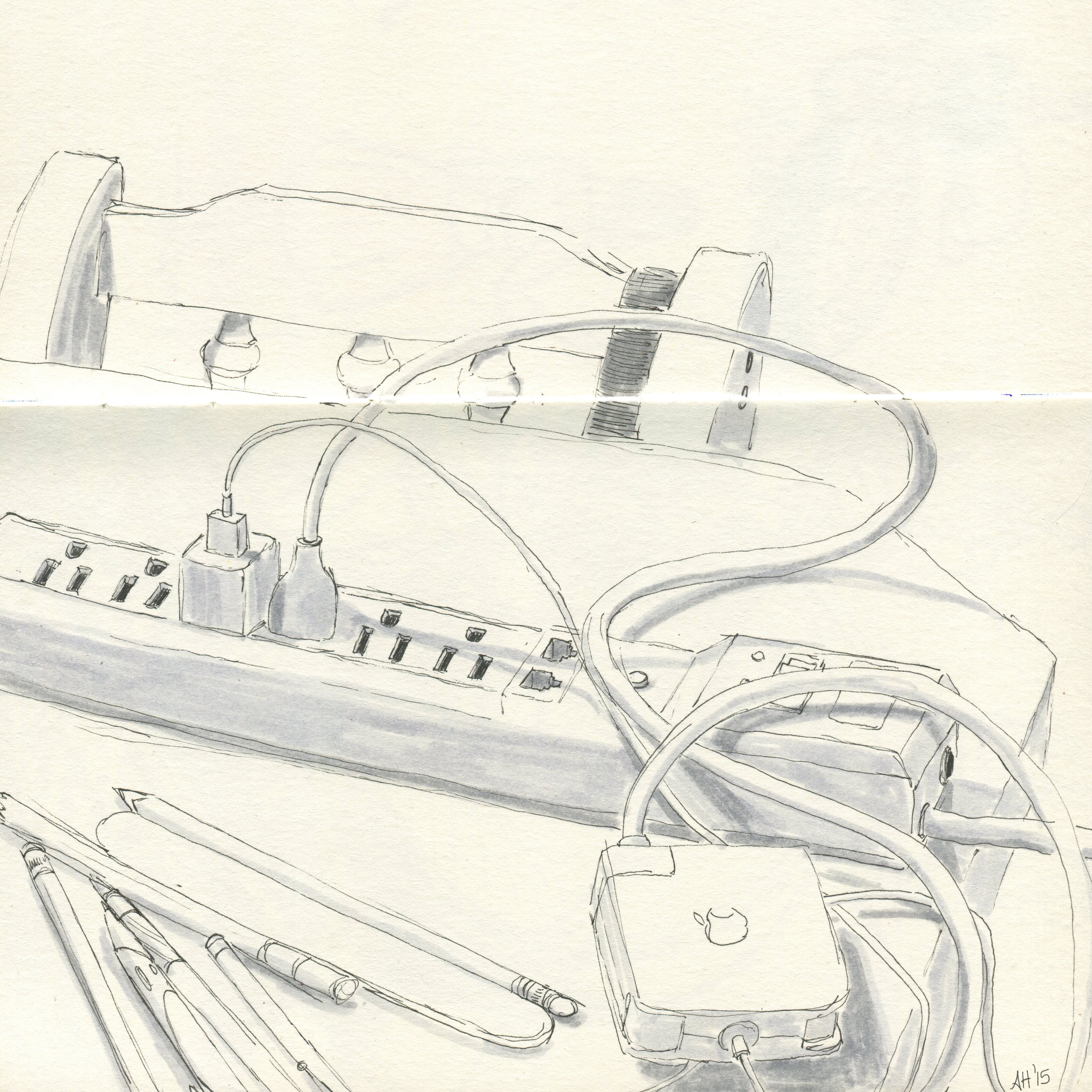 a macbook charger plugged into surge protector which sits on a kitchen table, sketched by alleanna harris