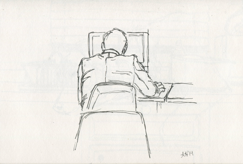 Student sitting at the computer by Alleanna Harris