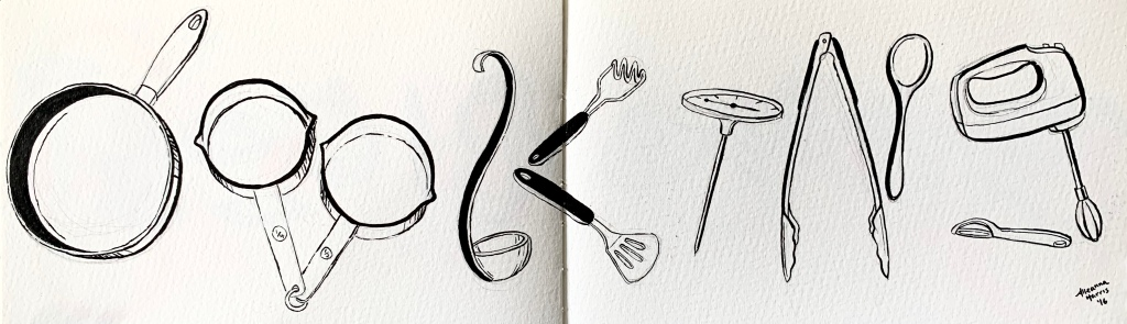 A google doodle influenced drawing by alleanna harris of the word cooking composed of drawings of pots and cooking utensils.