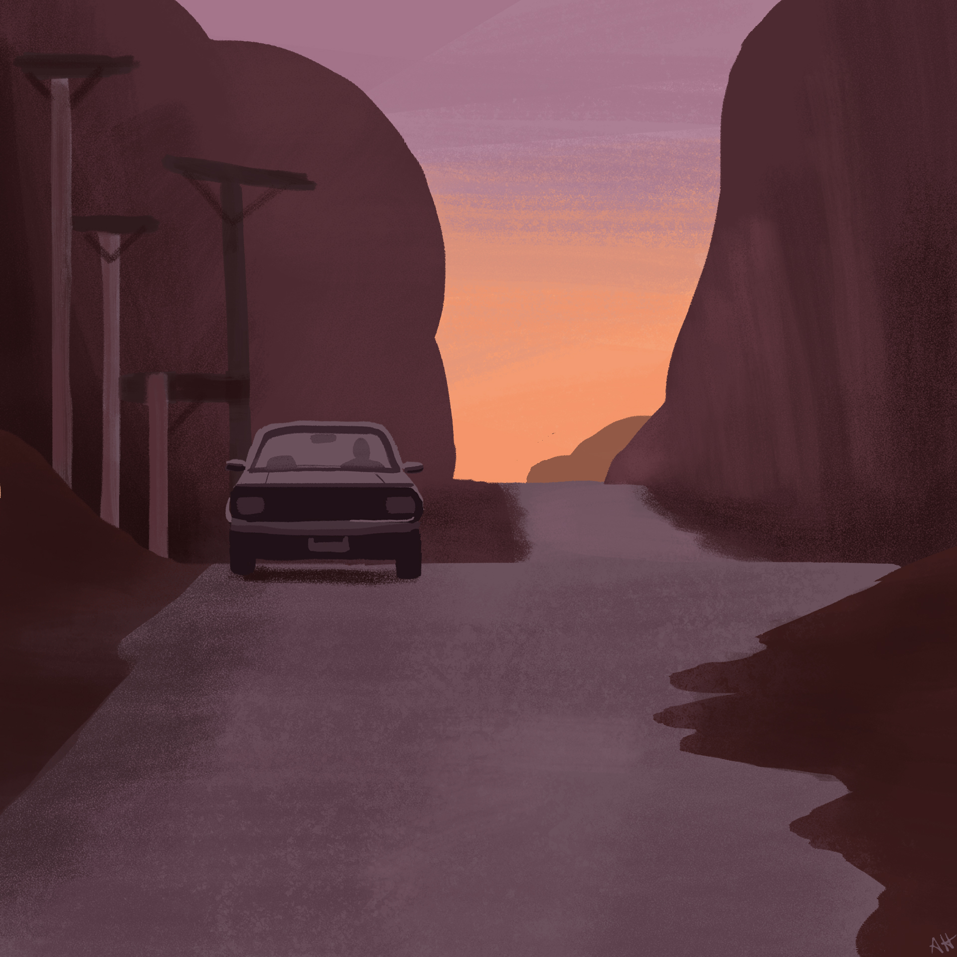 a color study of a scene from the music video for the song Never Surrender by Corey Hart