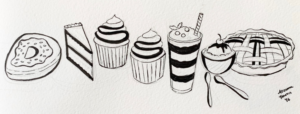 A google doodle influenced drawing by alleanna harris of the word dessert composed of drawings of various desserts.