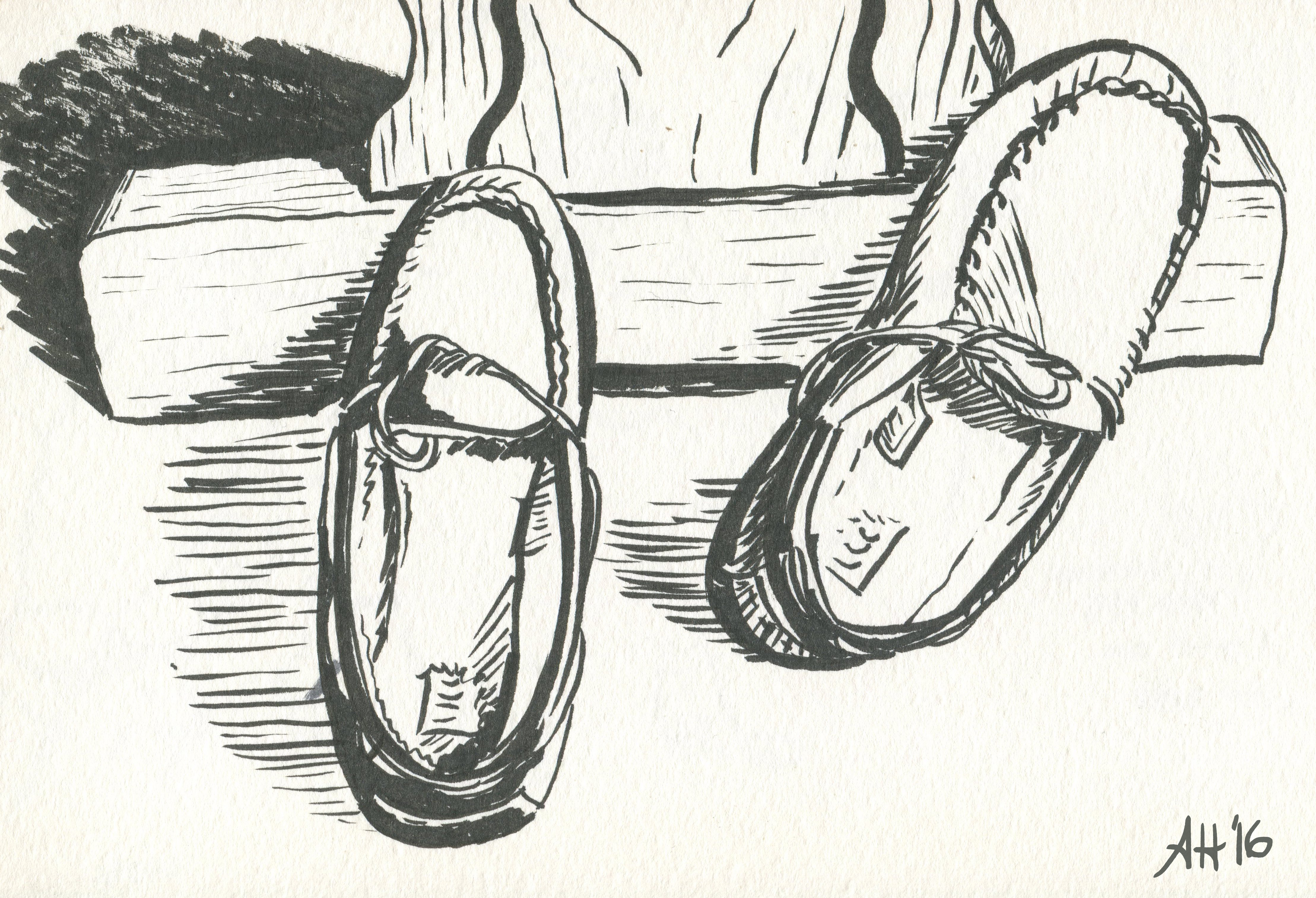 a pair of driving moccasins laying in front of a coffee table by alleanna harris