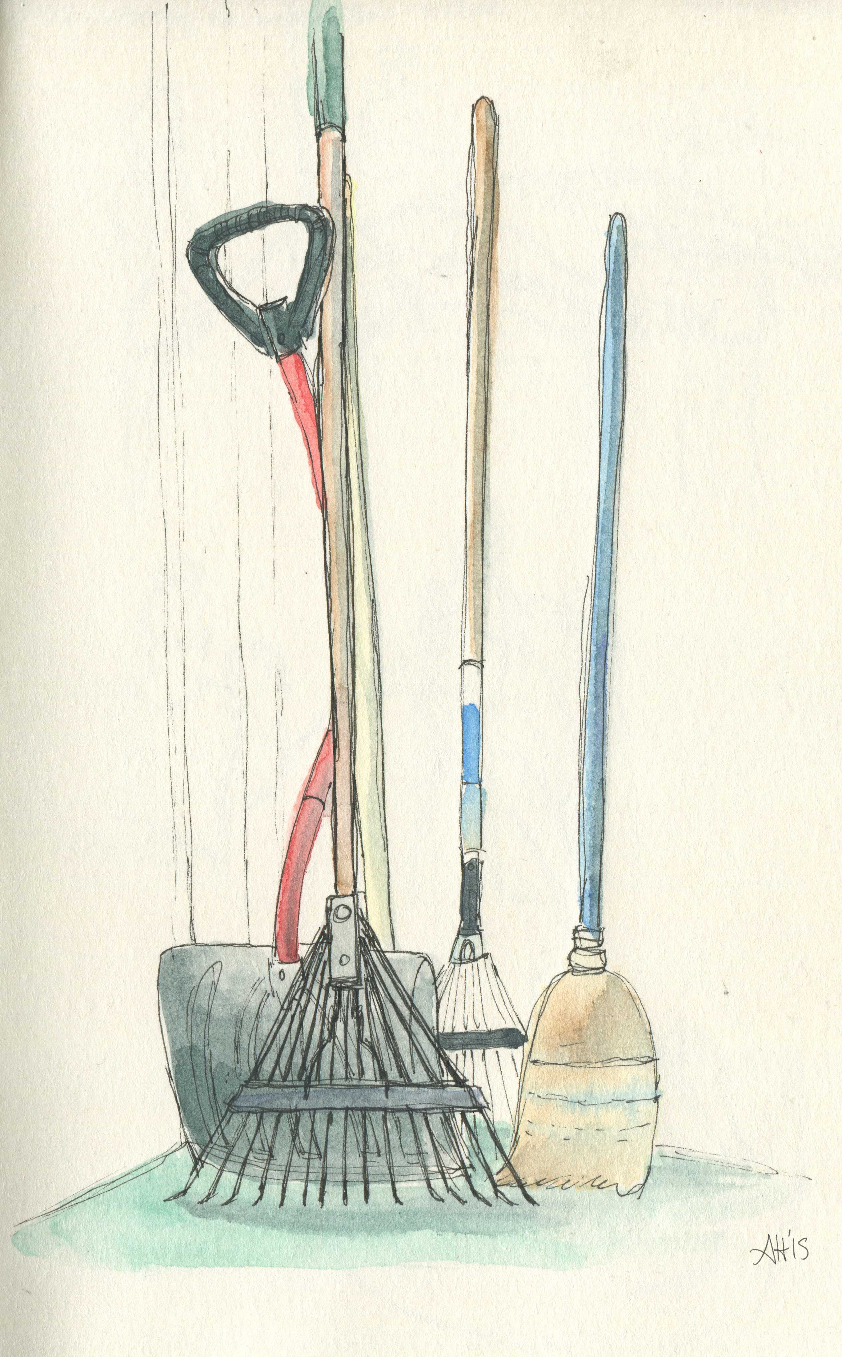 a sketch of a shovel, two rakes, and a broom leaning against the front porch by alleanna harris