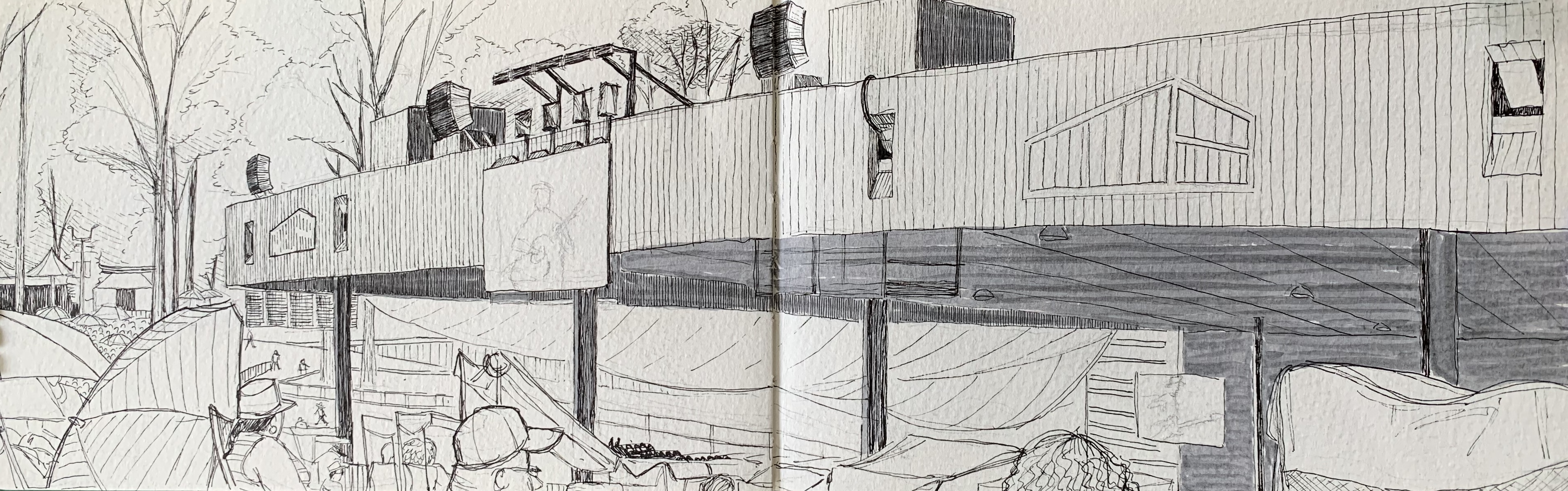 a sketch of a jazz show at merriweather post pavilion by alleanna harris