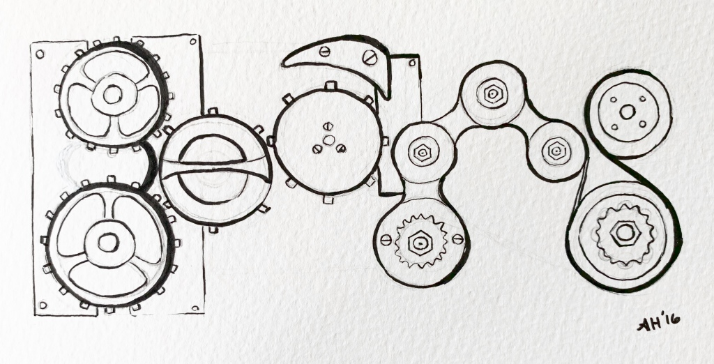A google doodle influenced drawing by alleanna harris of the word gears composed of drawings of mechanical gears.