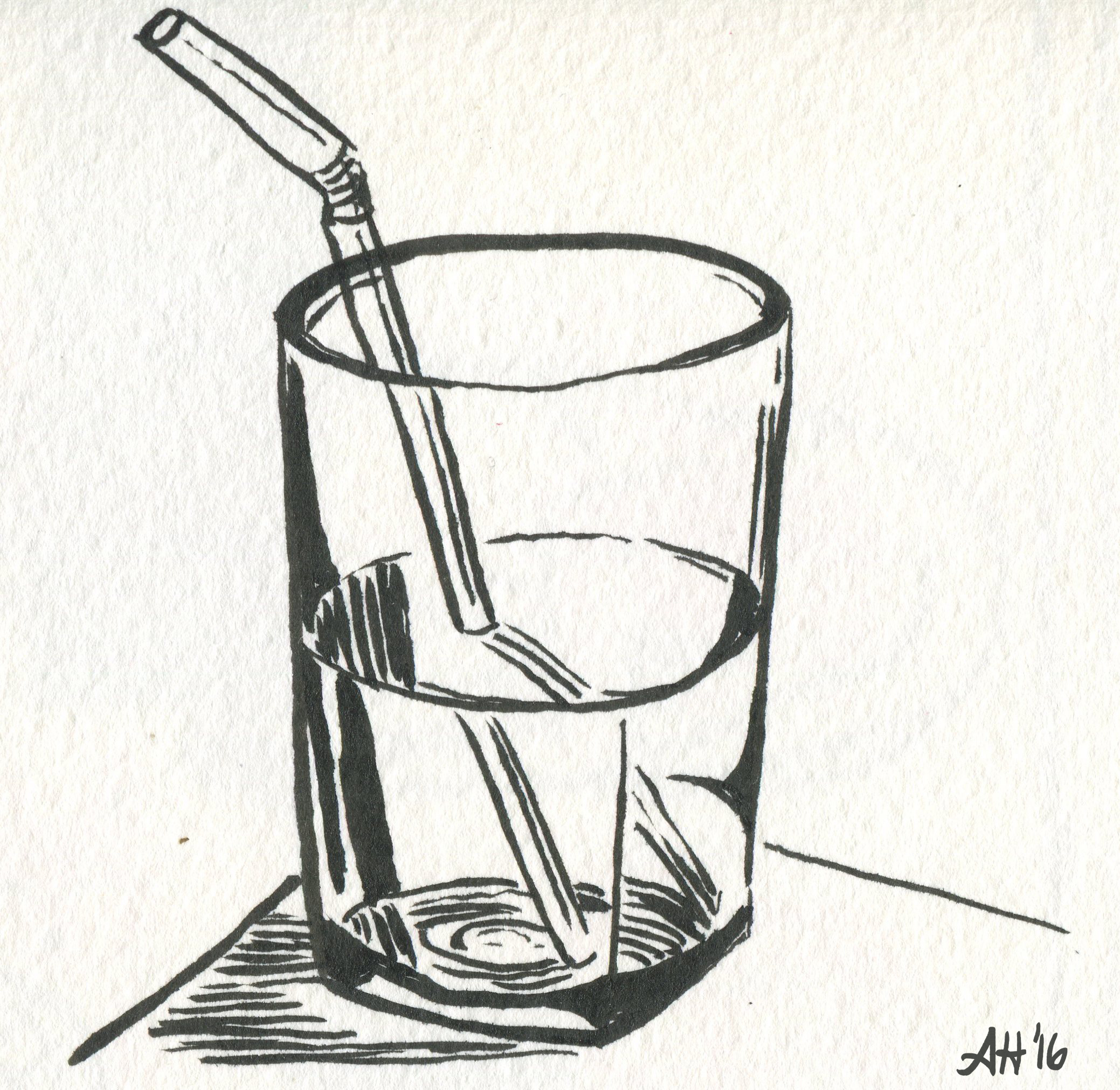 a sketch of a glass half full of water by alleanna harris