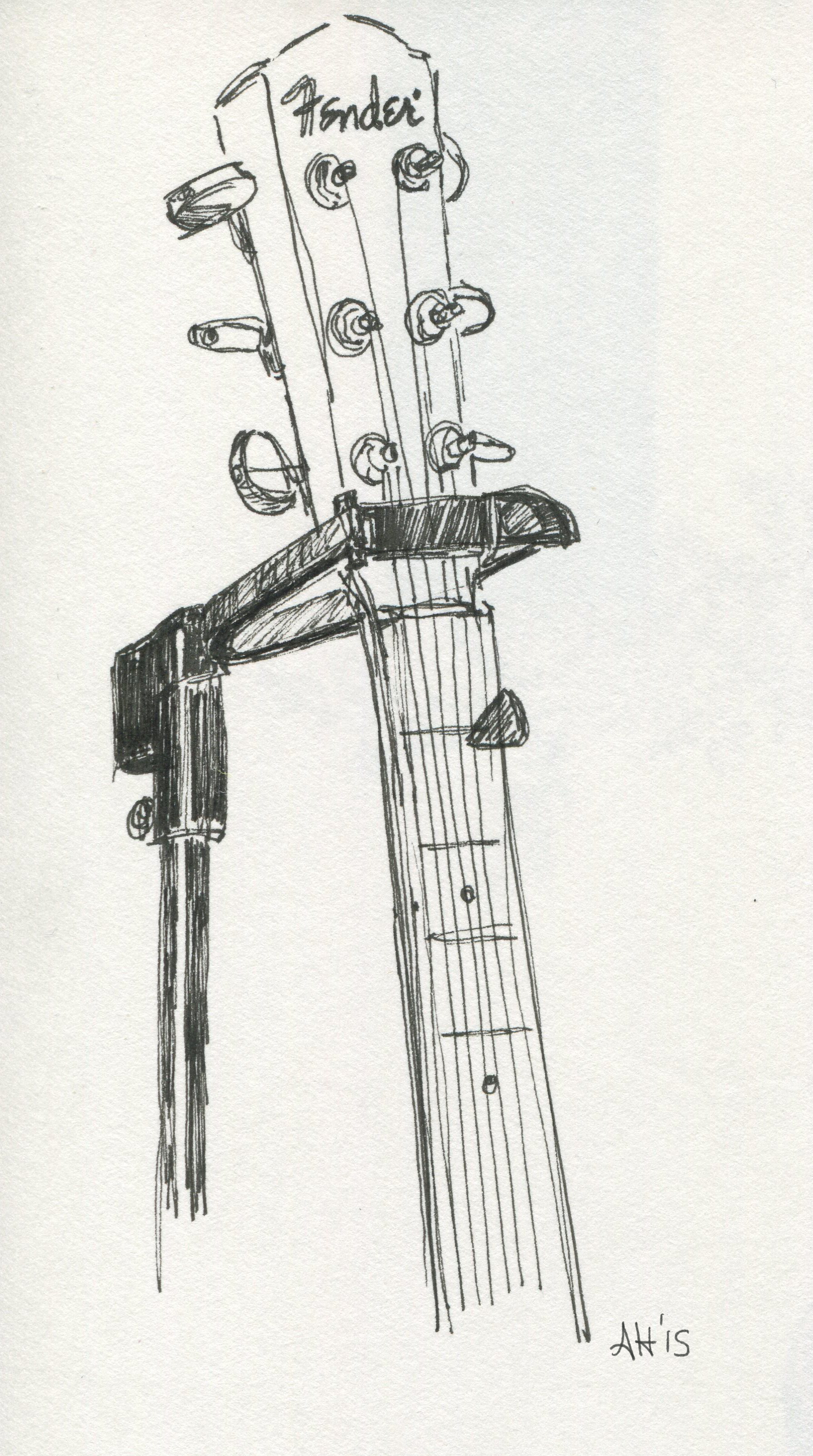 a sketch of a fender acoustic guitar by alleanna harris