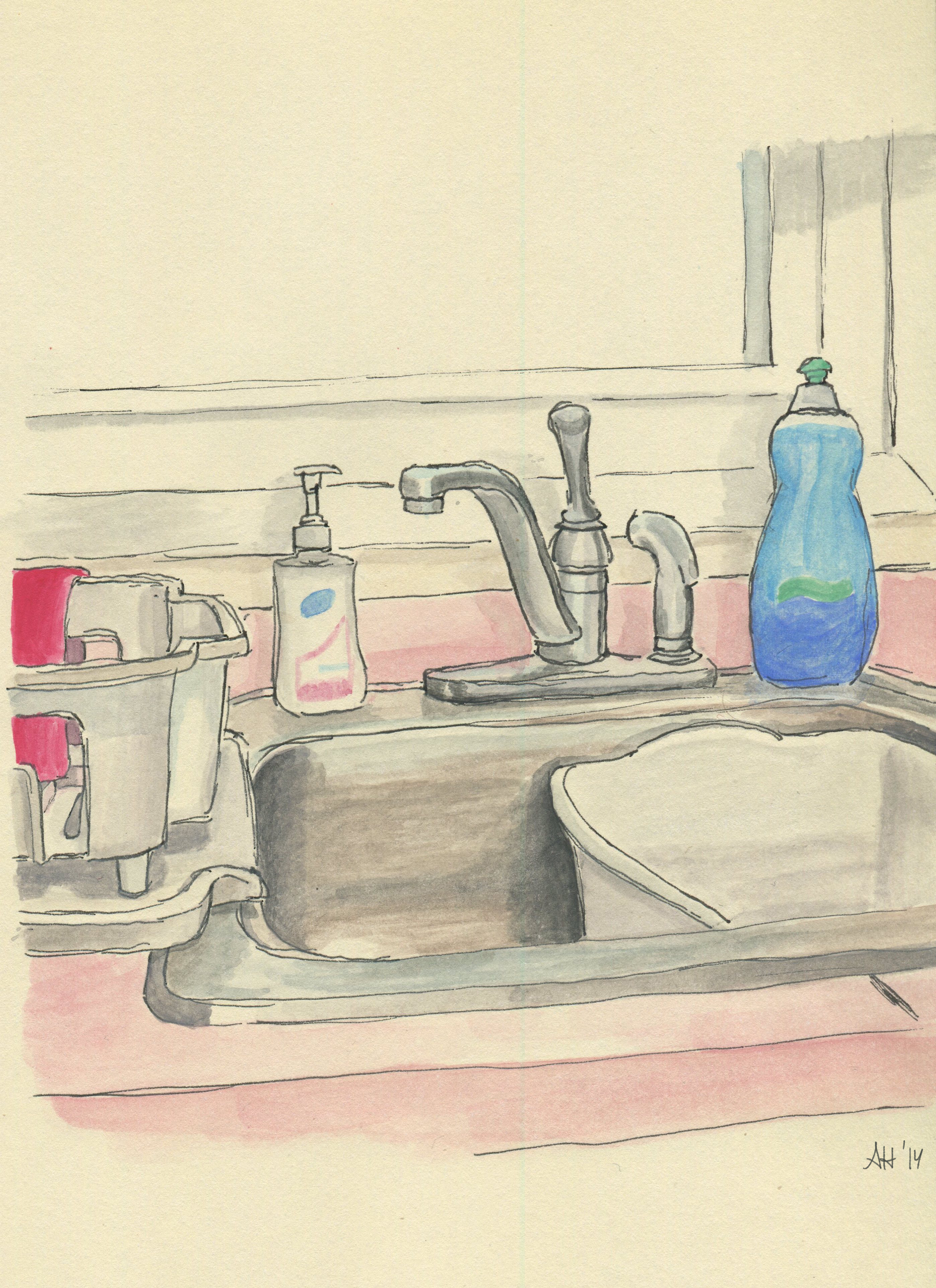 A kitchen sink after washing the dishes, sketched by Alleanna Harris