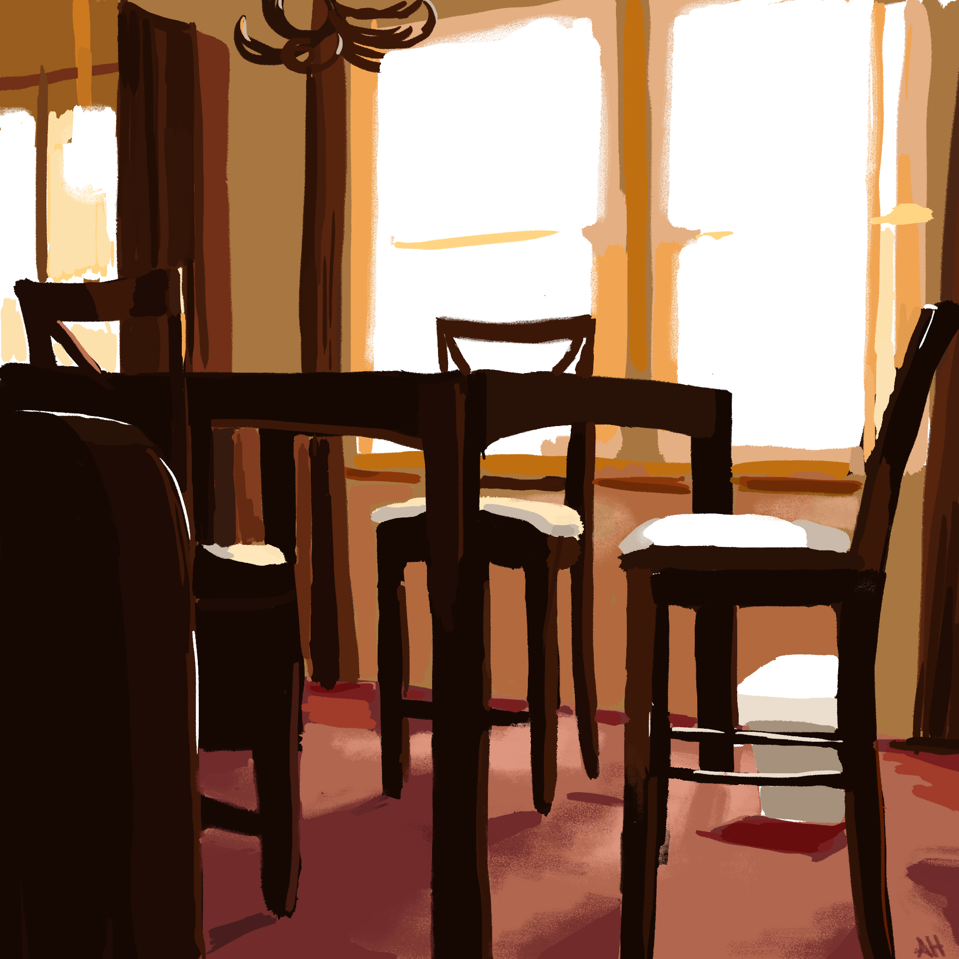 a color study of the furniture set in my dining room during a sunny afternoon