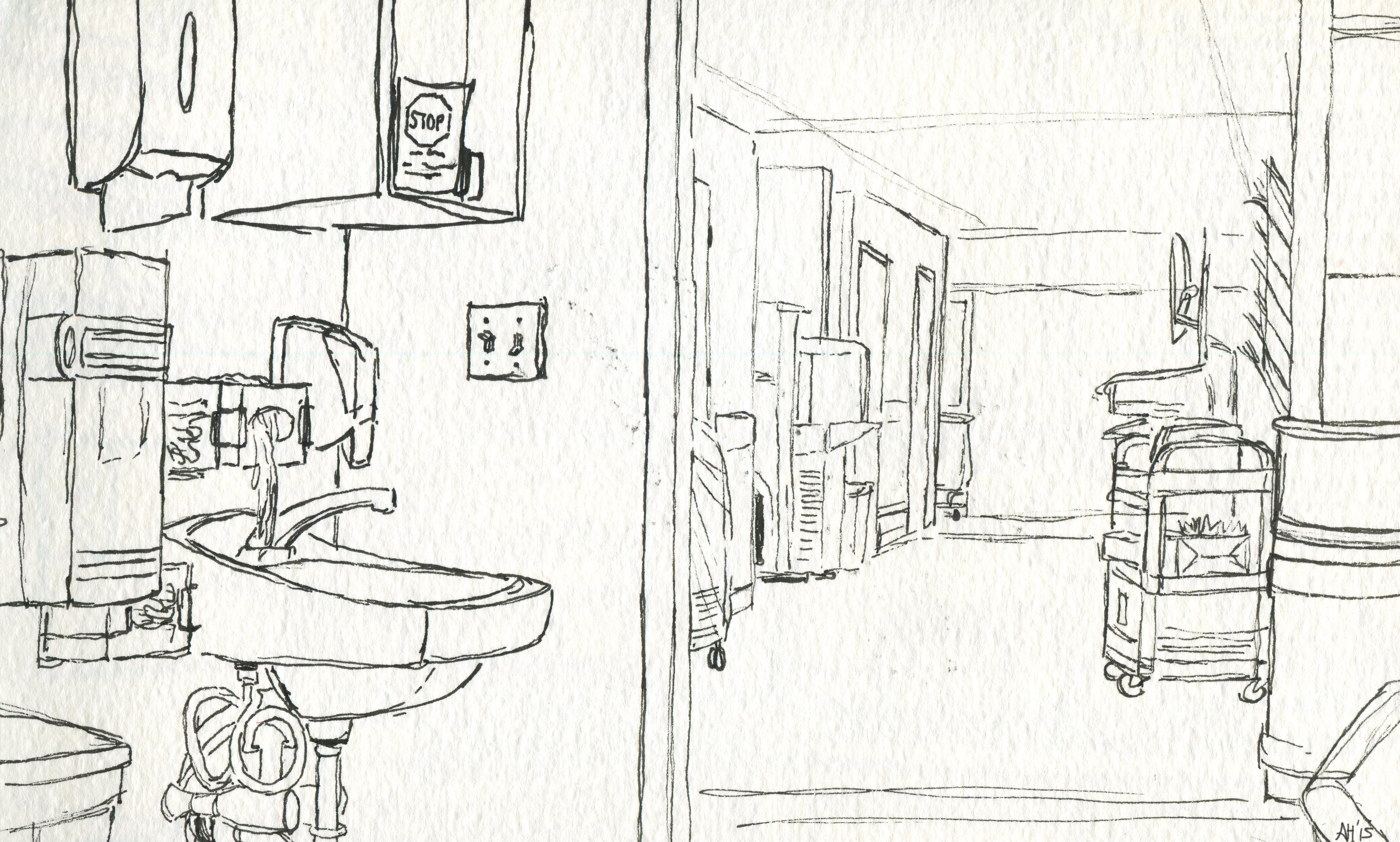 the view of an icu room to the hallway outside sketched by alleanna harris
