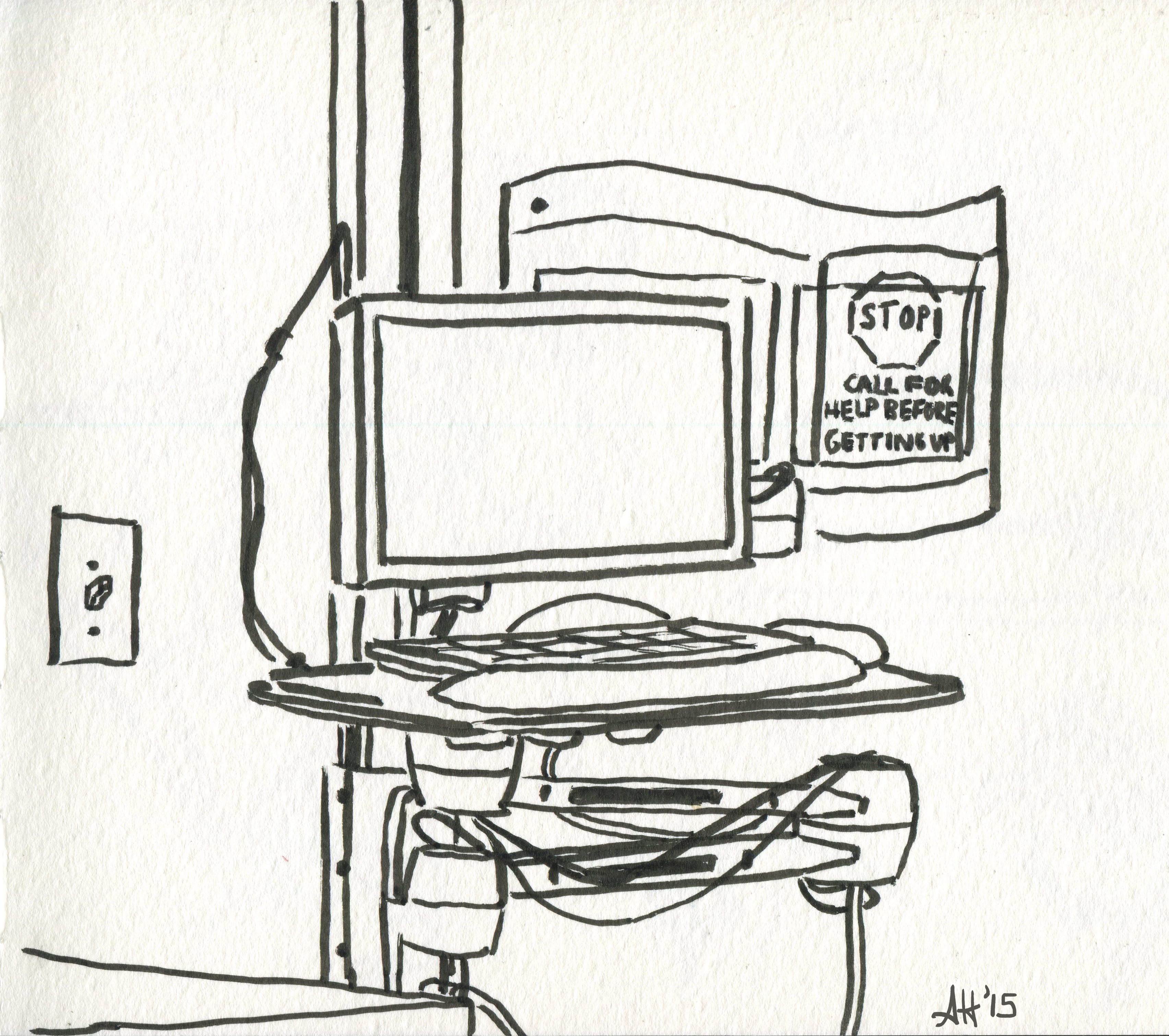 the computer inside of my grandma's icu room sketched by alleanna harris