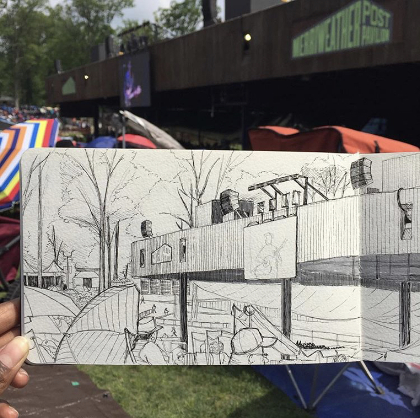 a picture of a sketch of merriweather post pavilion by alleanna harris