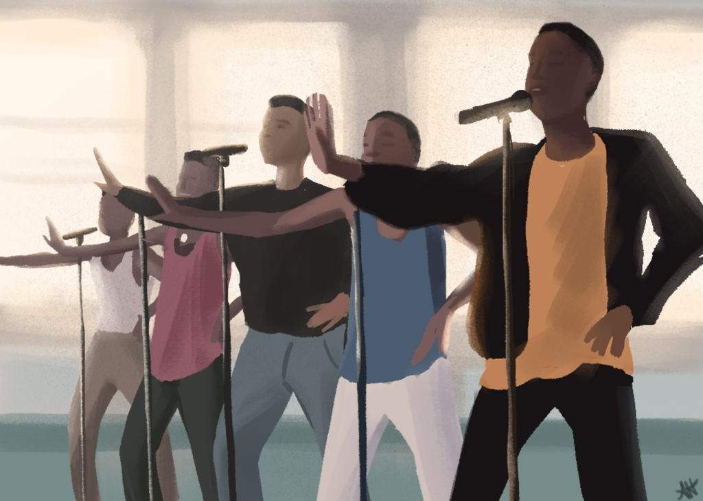 an illustration by alleanna harris of the famous music video for new edition's song if it isn't love.