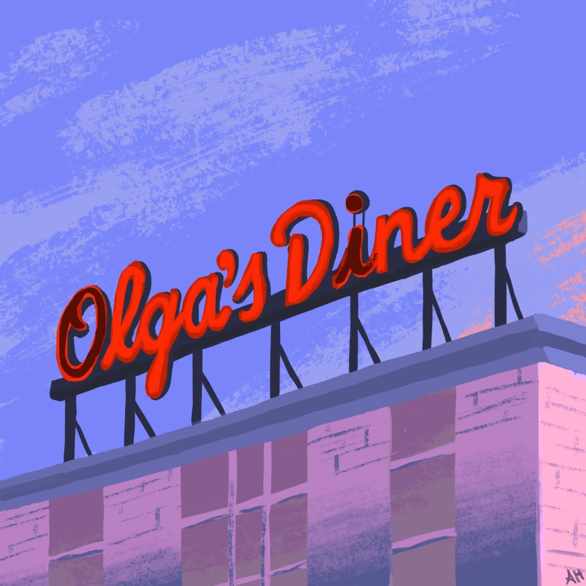 an illustration of the neon signage atop of the old olga's diner by alleanna harris