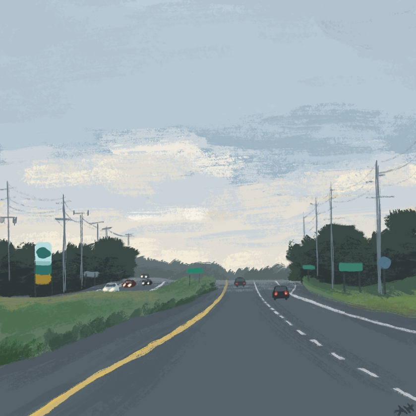 an illustration of a rural highway by alleanna harris