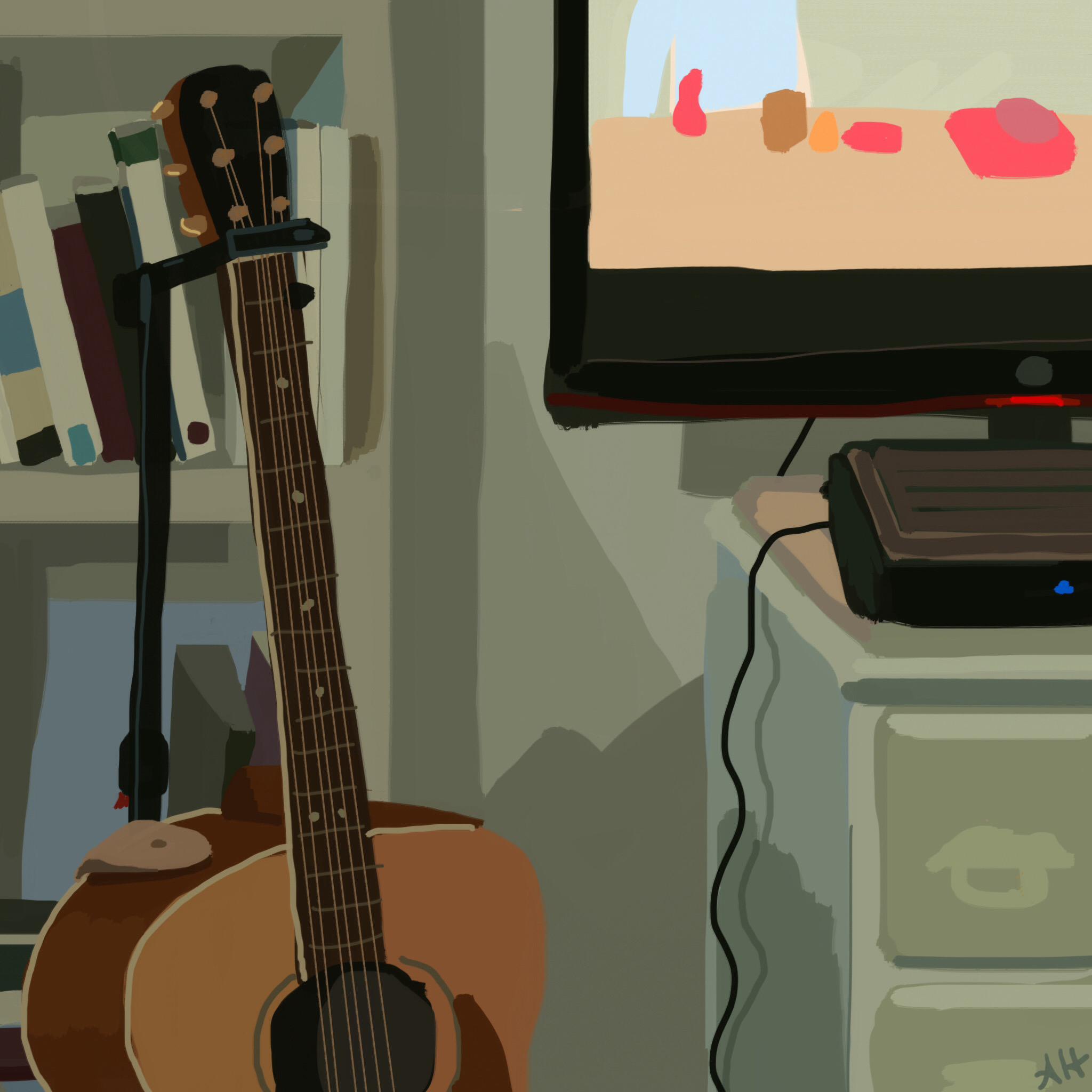 a digital sketch of a corner of my bedroom by alleanna harris