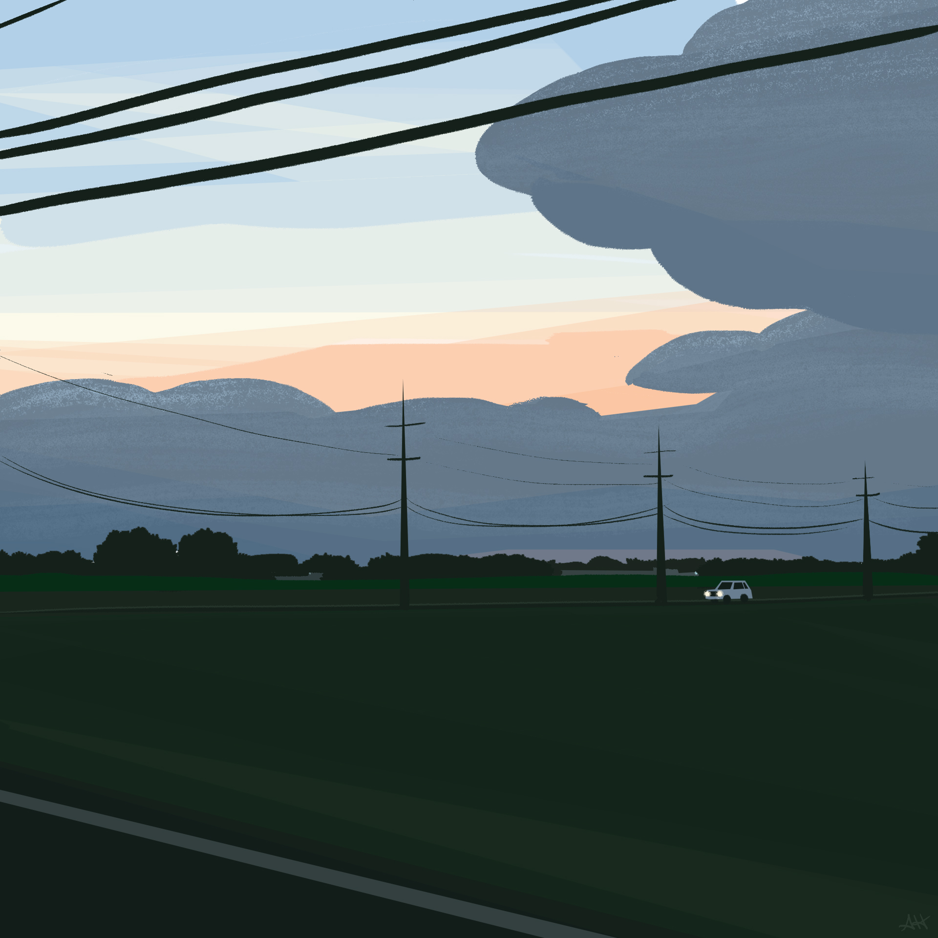 a scene of farmland, power lines, a road, and blue hour skies in the distance by alleanna harris