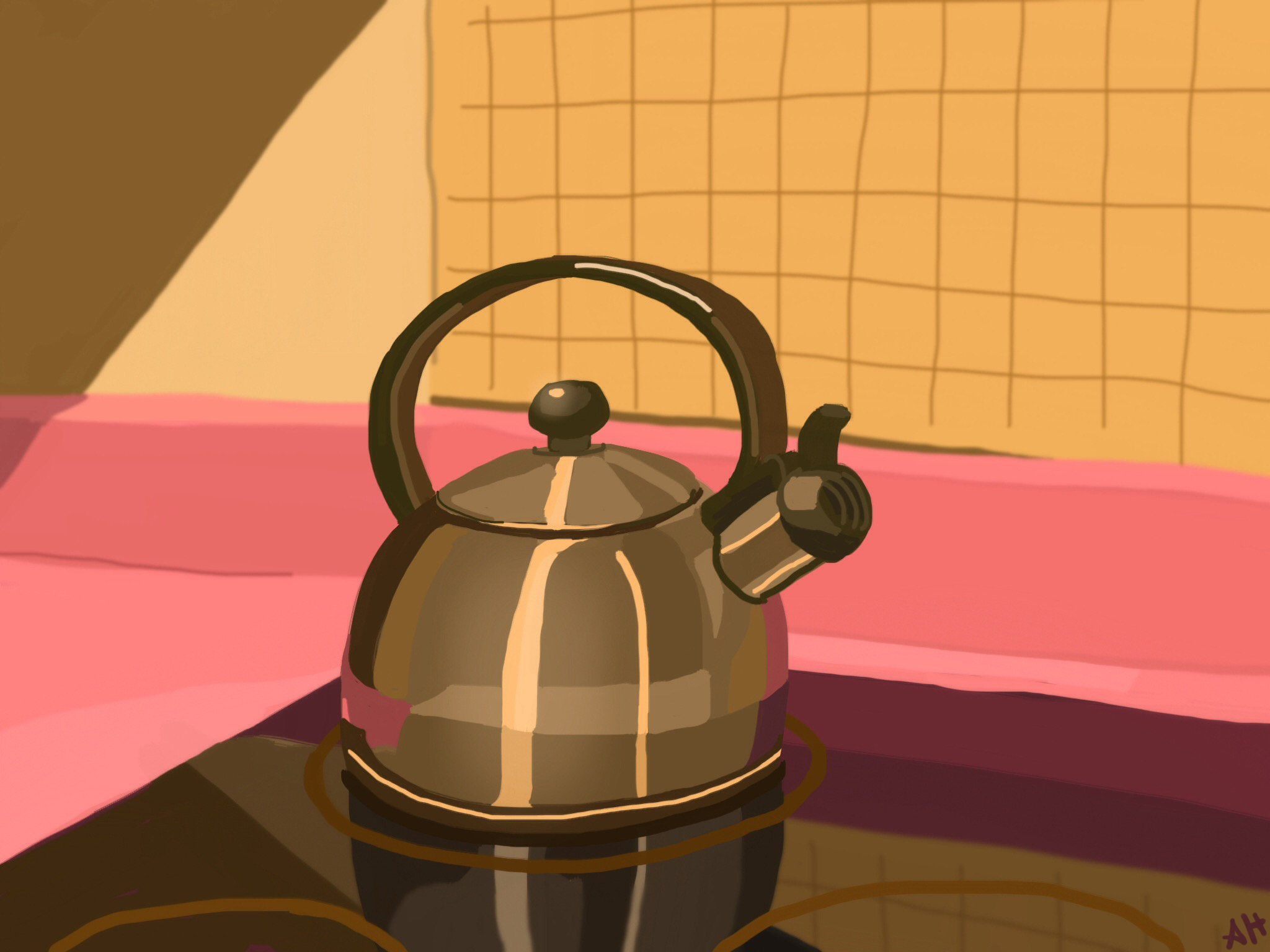 a digital sketch of teapot on a reflective stove by alleanna harris