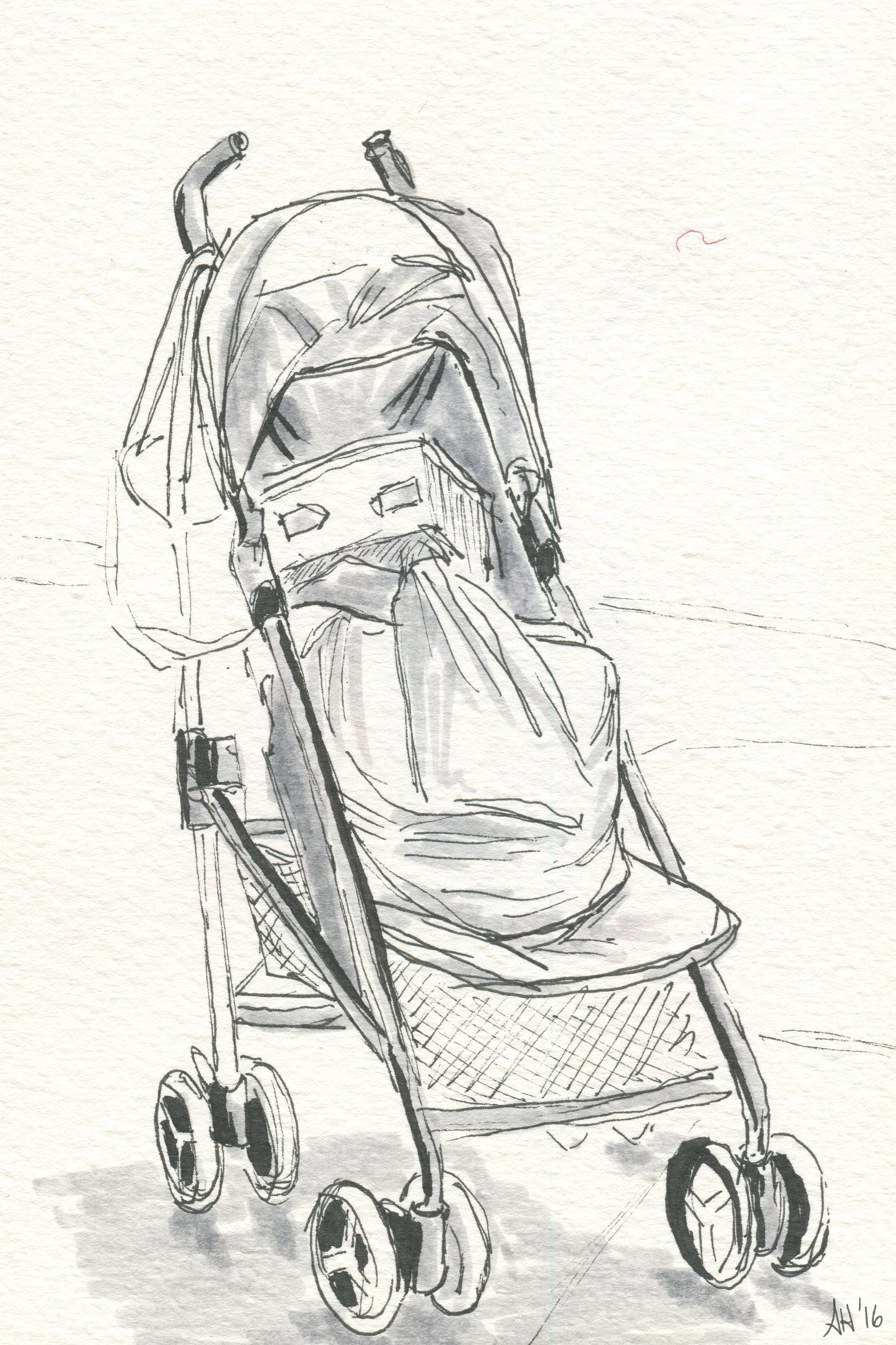 a sketch of an empty stroller by alleanna harris