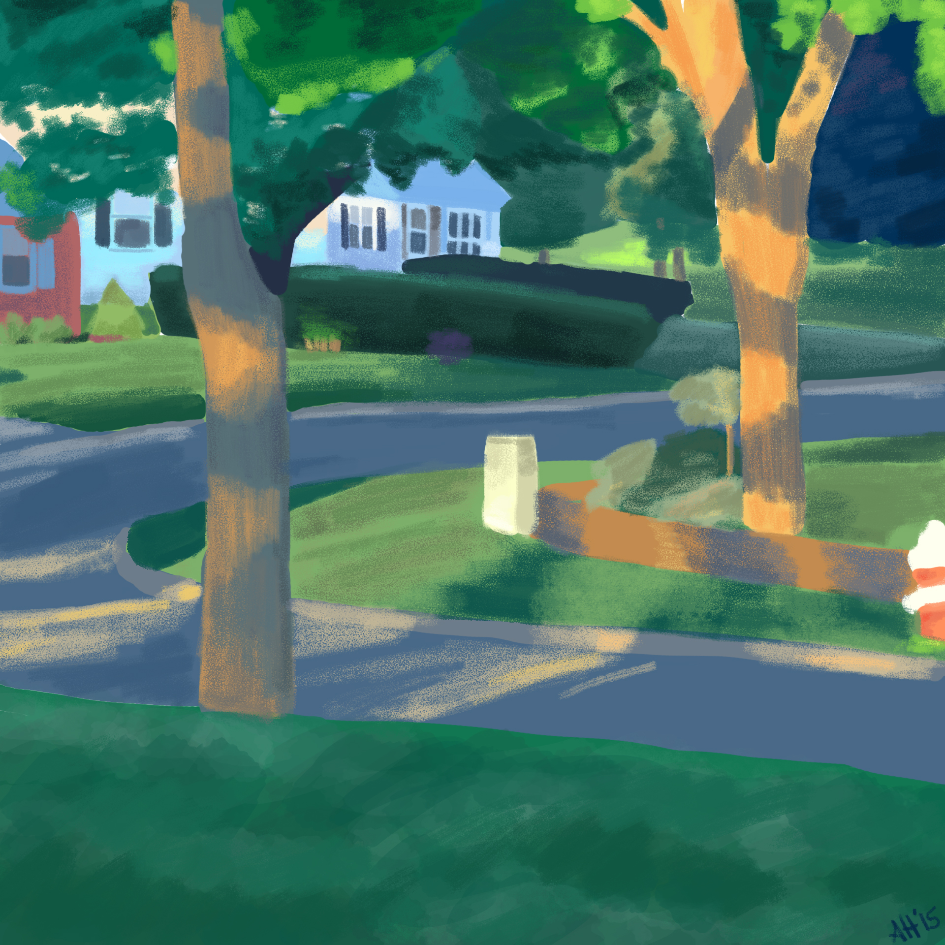 a color study of my front yard and two of my neighbors front yards