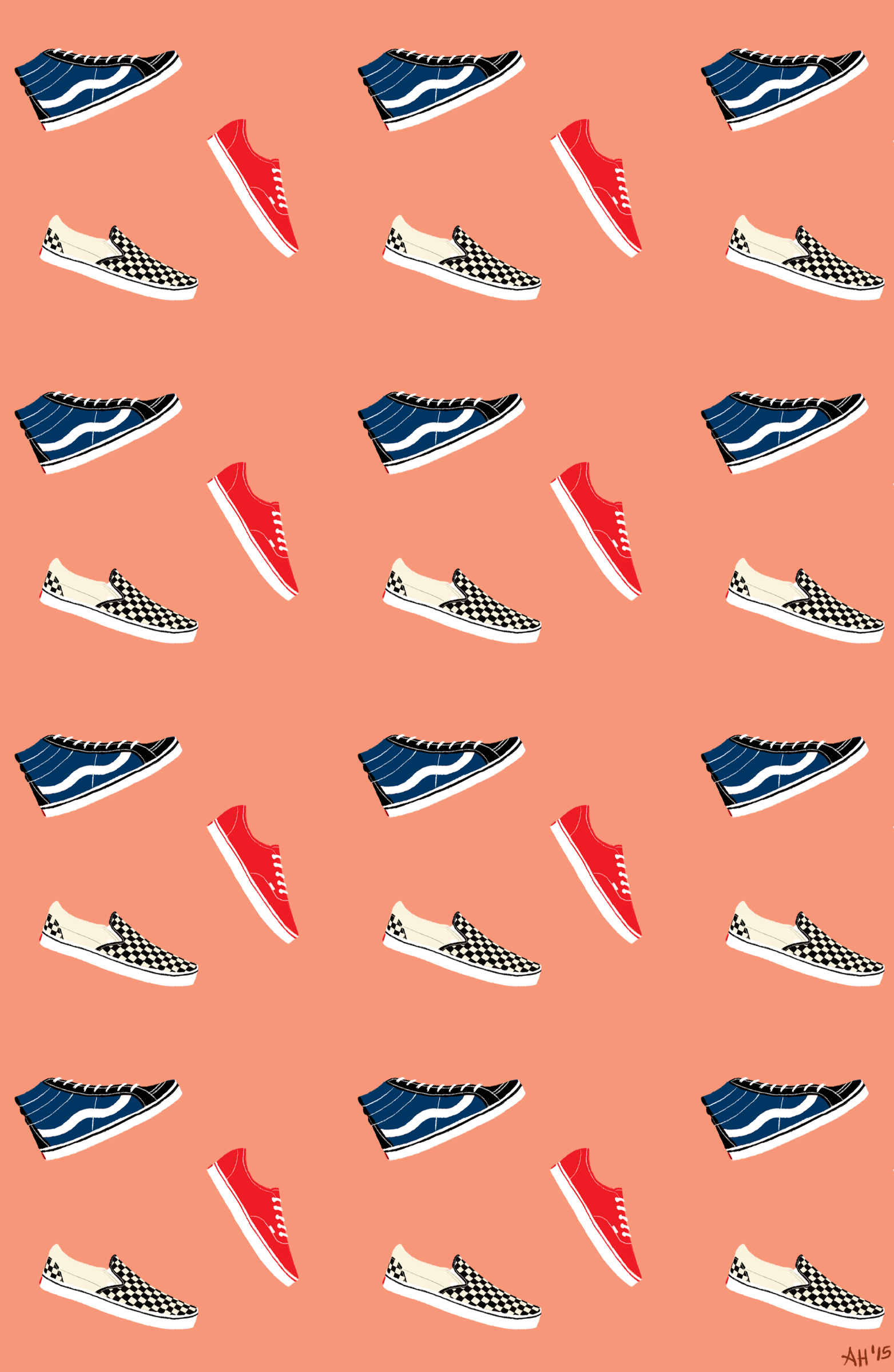 a pattern made of vans sk8 hi vans canvas and vans checkered slip ons by alleanna harris
