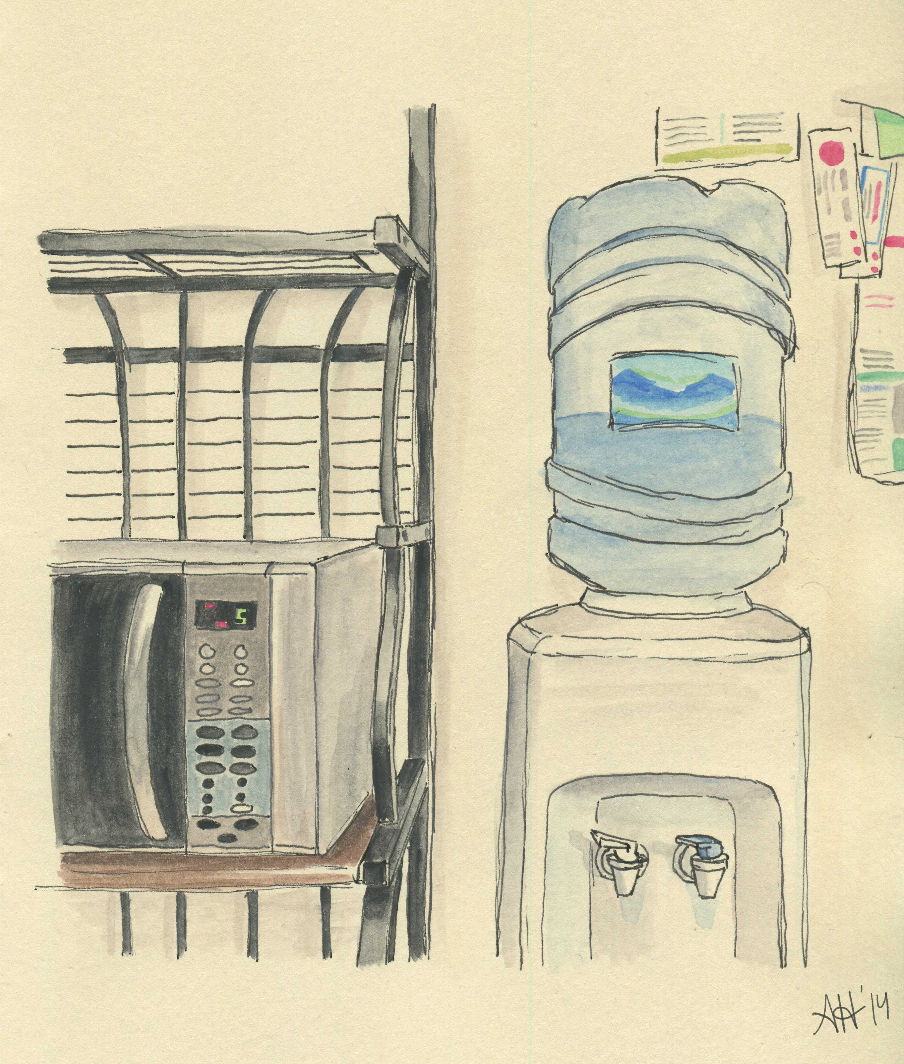 A scene of a microwave and watercooler sketched by Alleanna Harris.