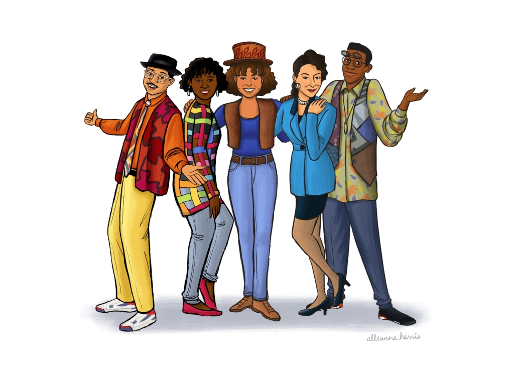 an illustration by alleanna harris of the cast of the tv show a different world