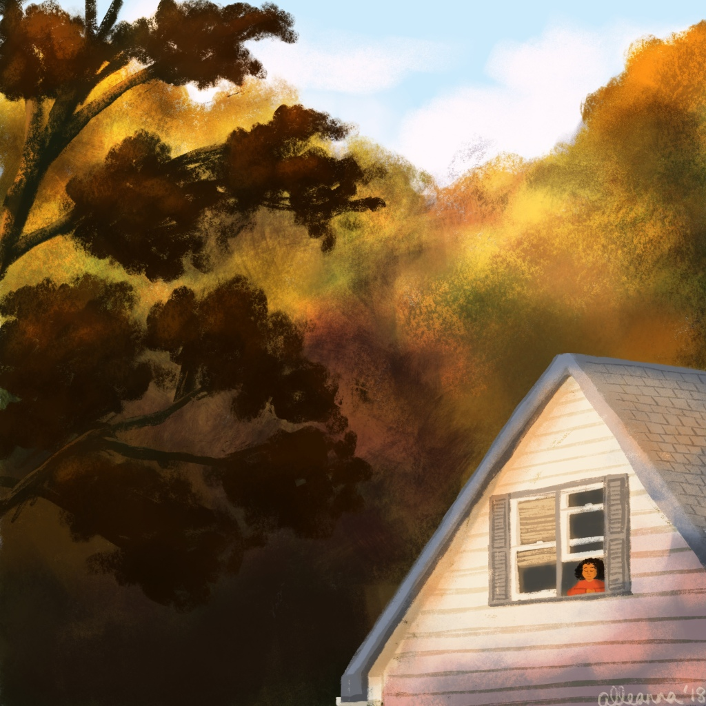an illustration by alleanna harris of a girl looking out the window at the fall trees