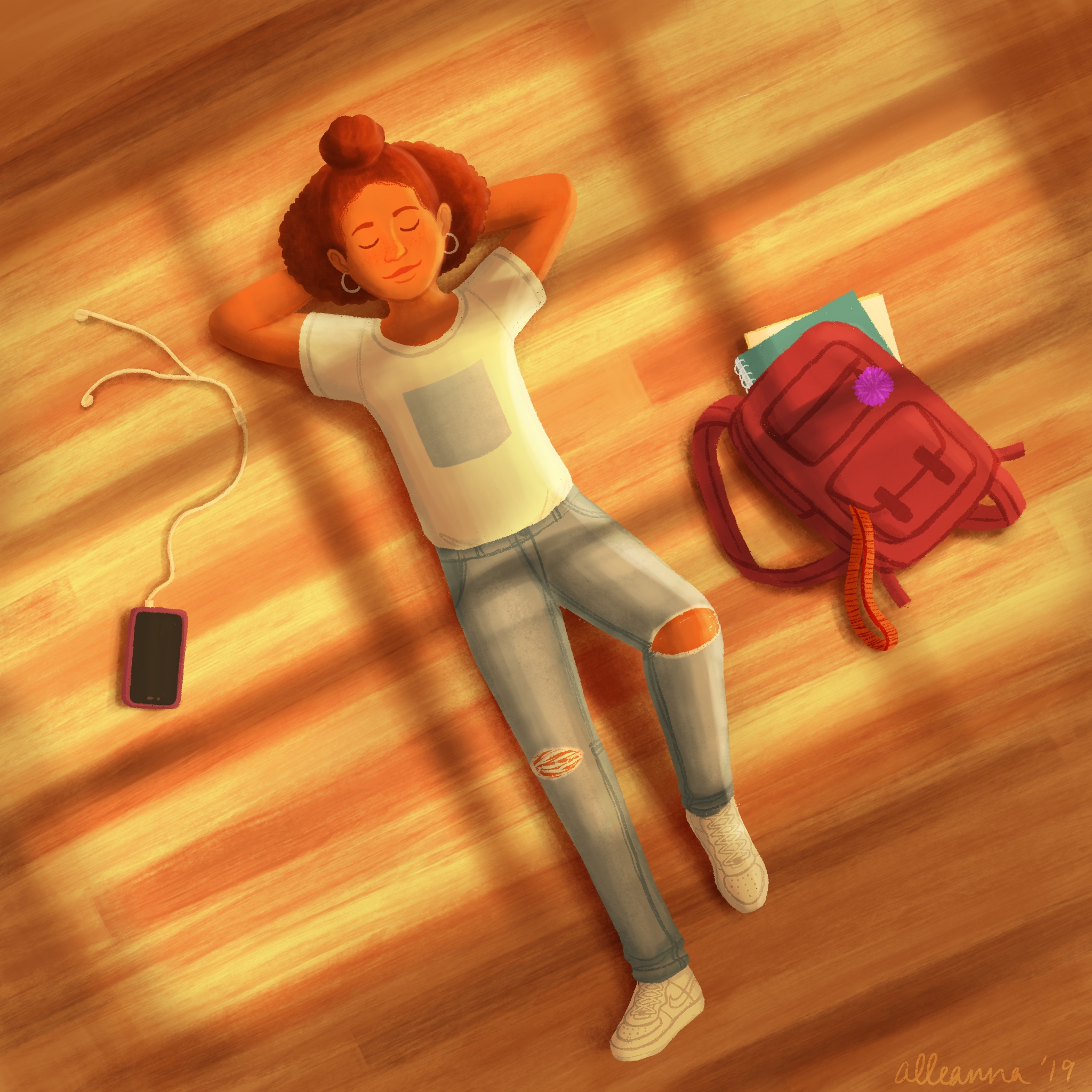 an illustration by alleanna harris of a teenage girl laying on the floor in the sunlight