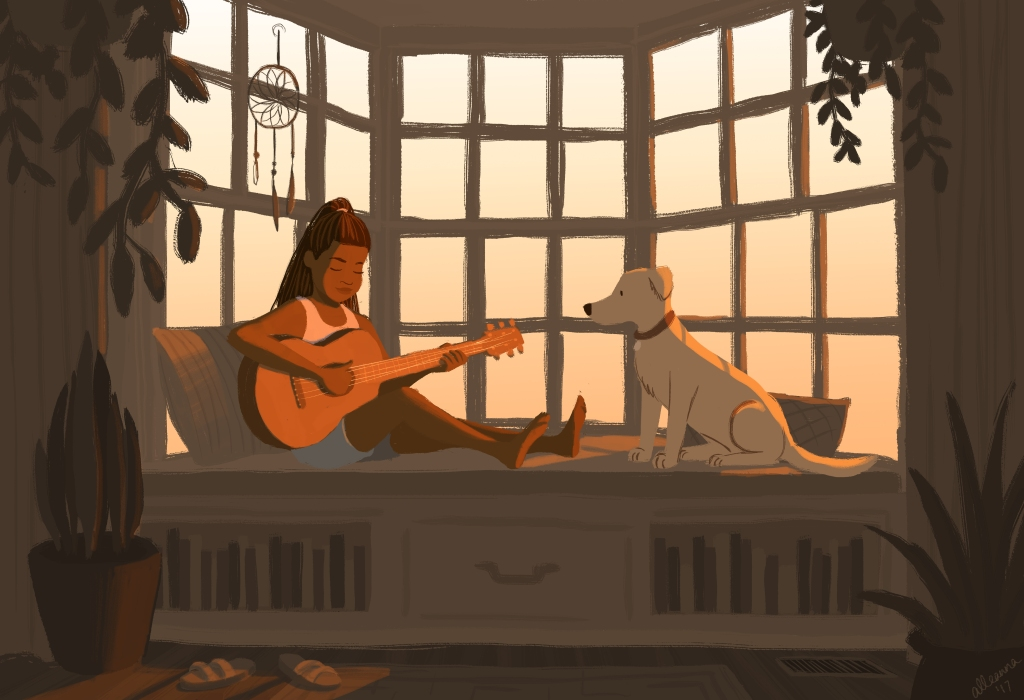 an illustration by alleanna harris of a carefree black girl playing guitar while sitting next to her yellow lab in front of a bay window
