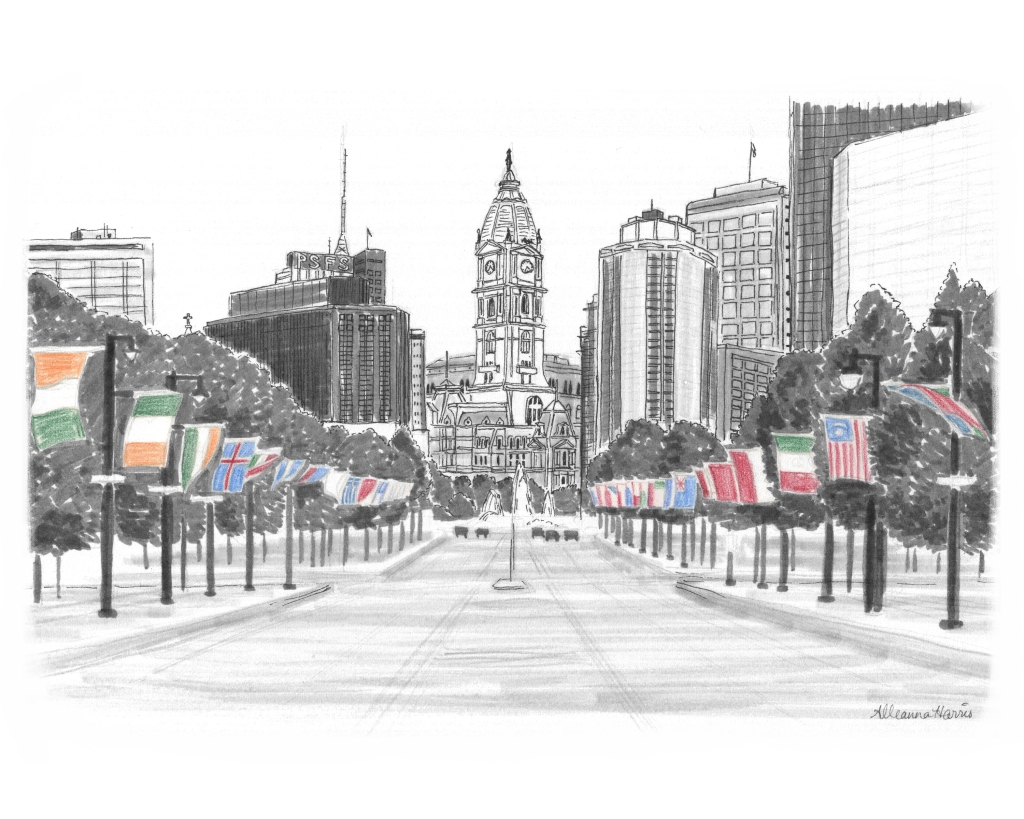 an original drawing by alleanna harris of the flags along Benjamin Franklin Parkway in Philadelphia
