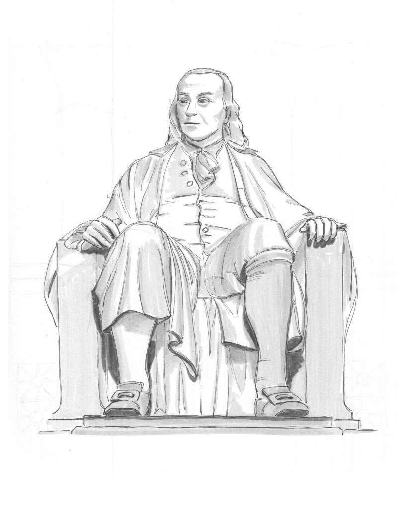 an original drawing by alleanna harris of the ben franklin statue located in the rotunda of the franklin institute in philadelphia