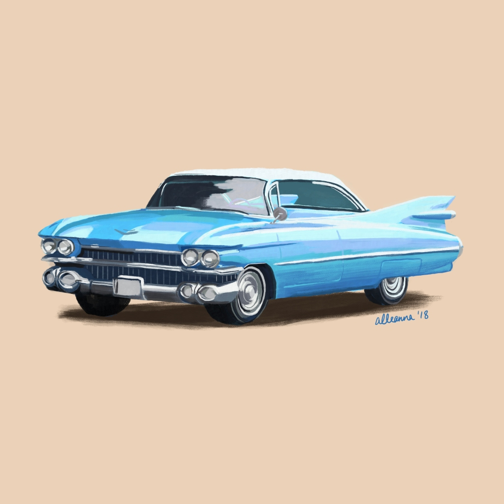 an illustration by alleanna harris of a blue 1959 cadillac eldorado biarritz