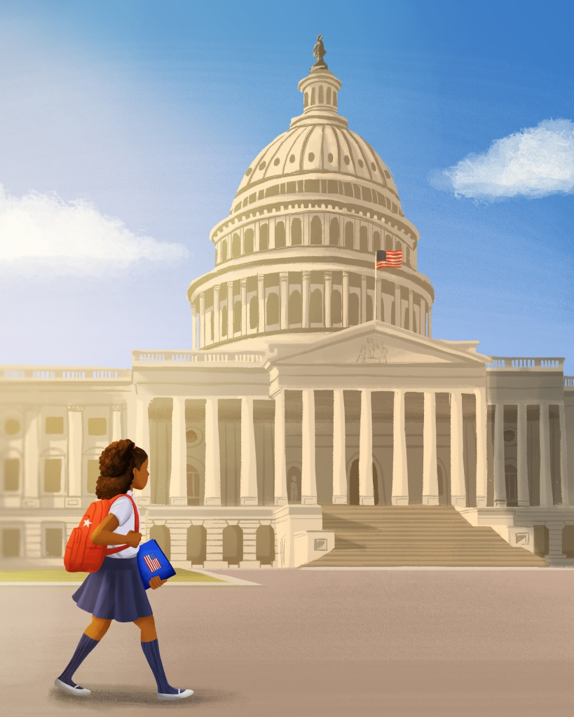an illustration by alleanna harris of a young girl walking in front of the United State Capitol Building