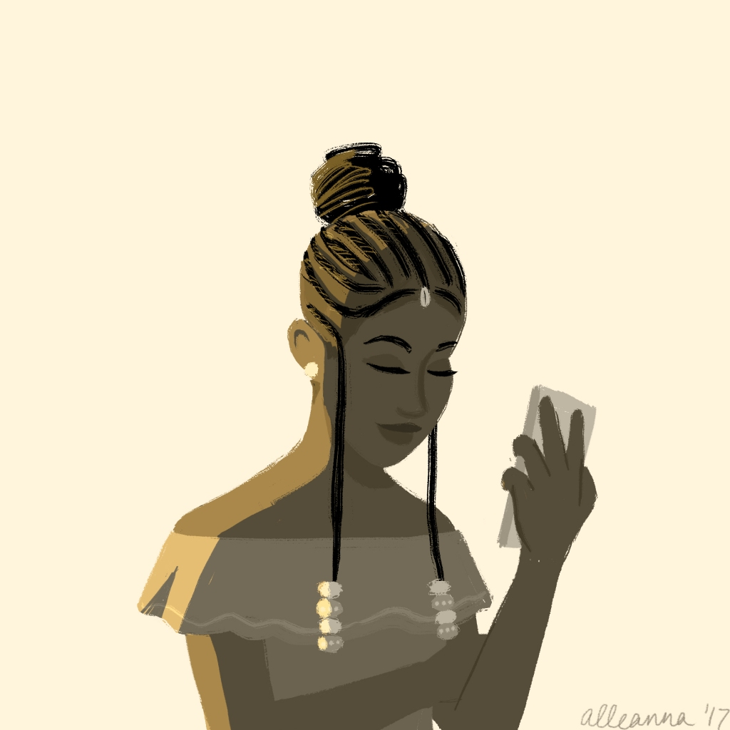 an illustration by alleanna harris of a black girl happily looking at her cell phone