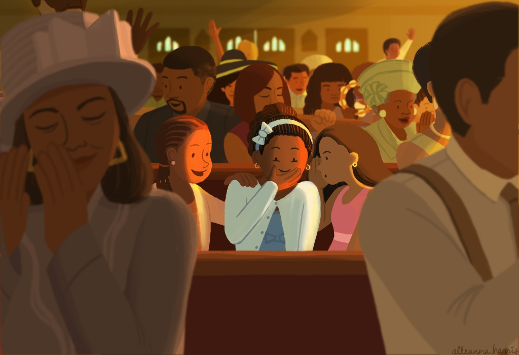 an illustration by alleanna harris of three little black girls gossiping during a church service
