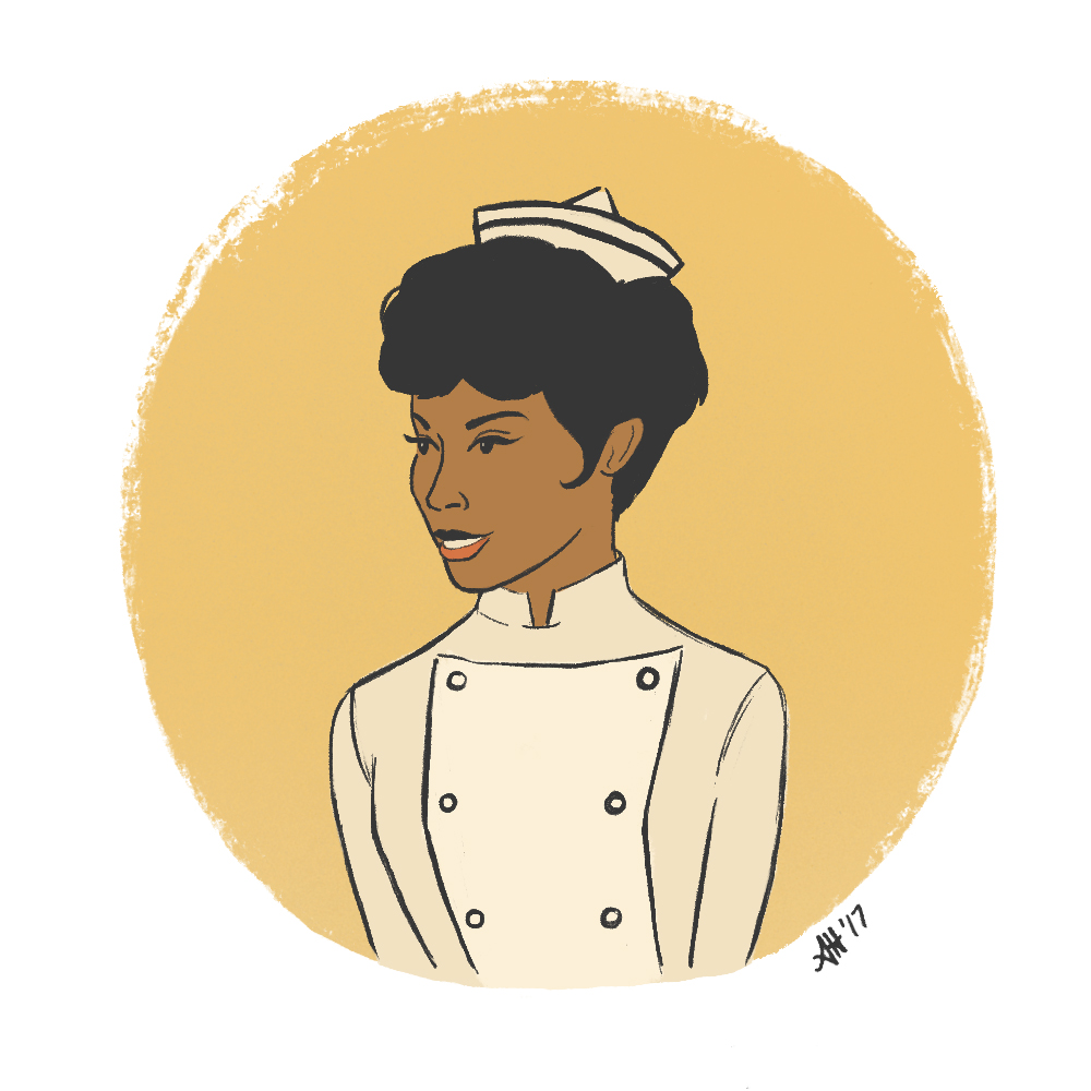 a black history month illustration by alleanna harris of diahann carroll as julia