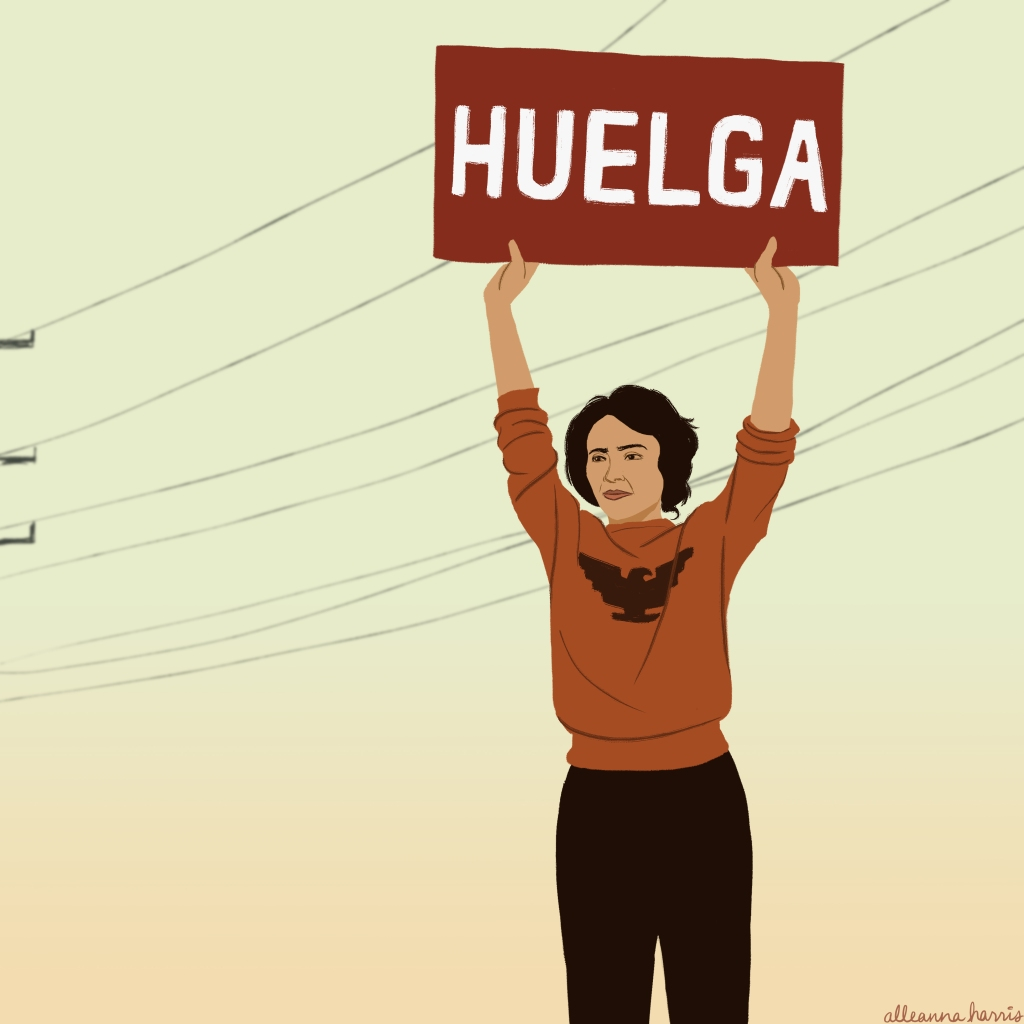 a women's history illustration by alleanna harris of the activist dolores huerta