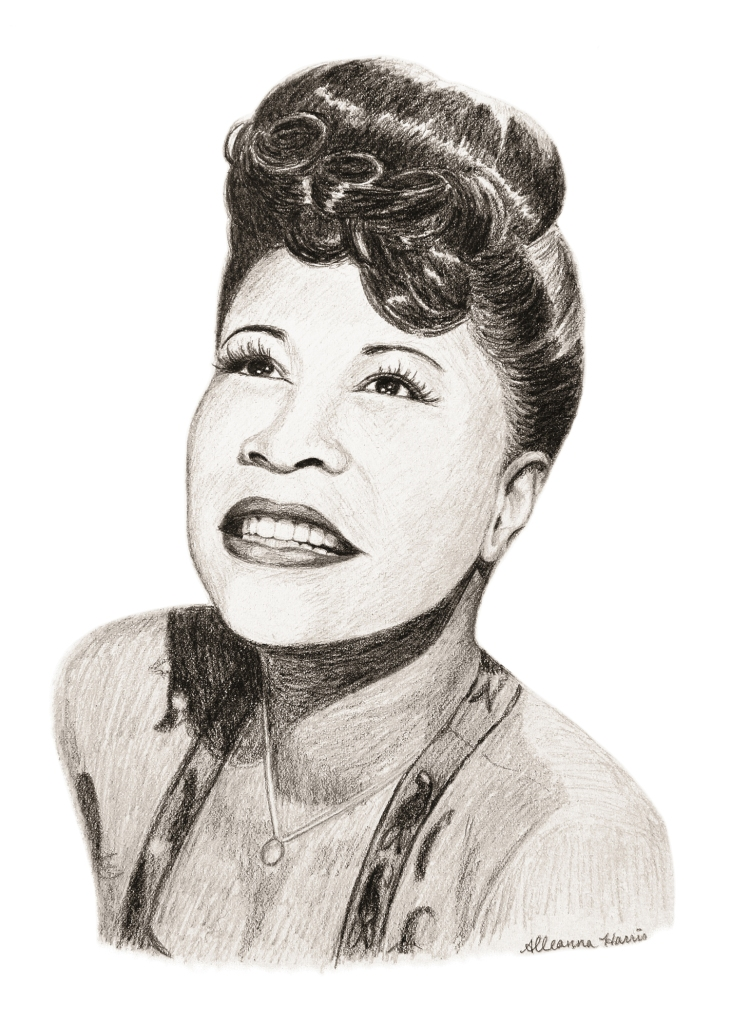 a black history month illustration by alleanna harris of the legendary jazz singer ella fitzgerald