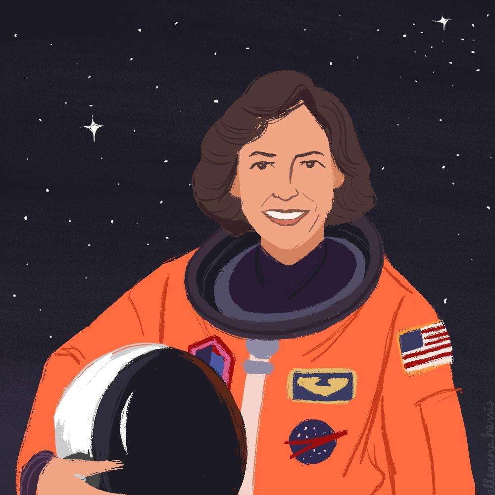 a women's history illustration by alleanna harris of the astronaut ellen ochoa