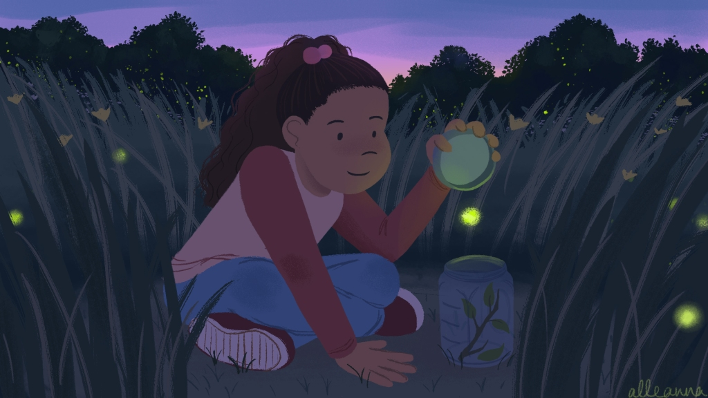 an illustration by alleanna harris of a girl sitting in a meadow at twilight catching fireflies