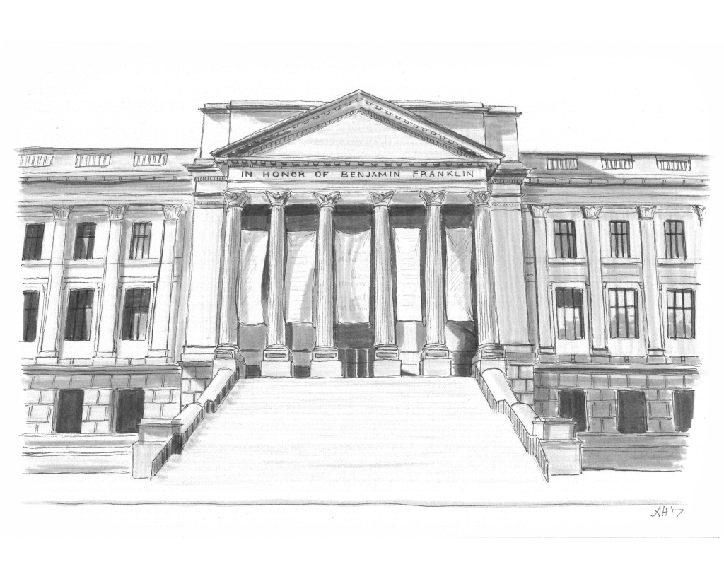 an original drawing by alleanna harris of the franklin institute in philadelphia