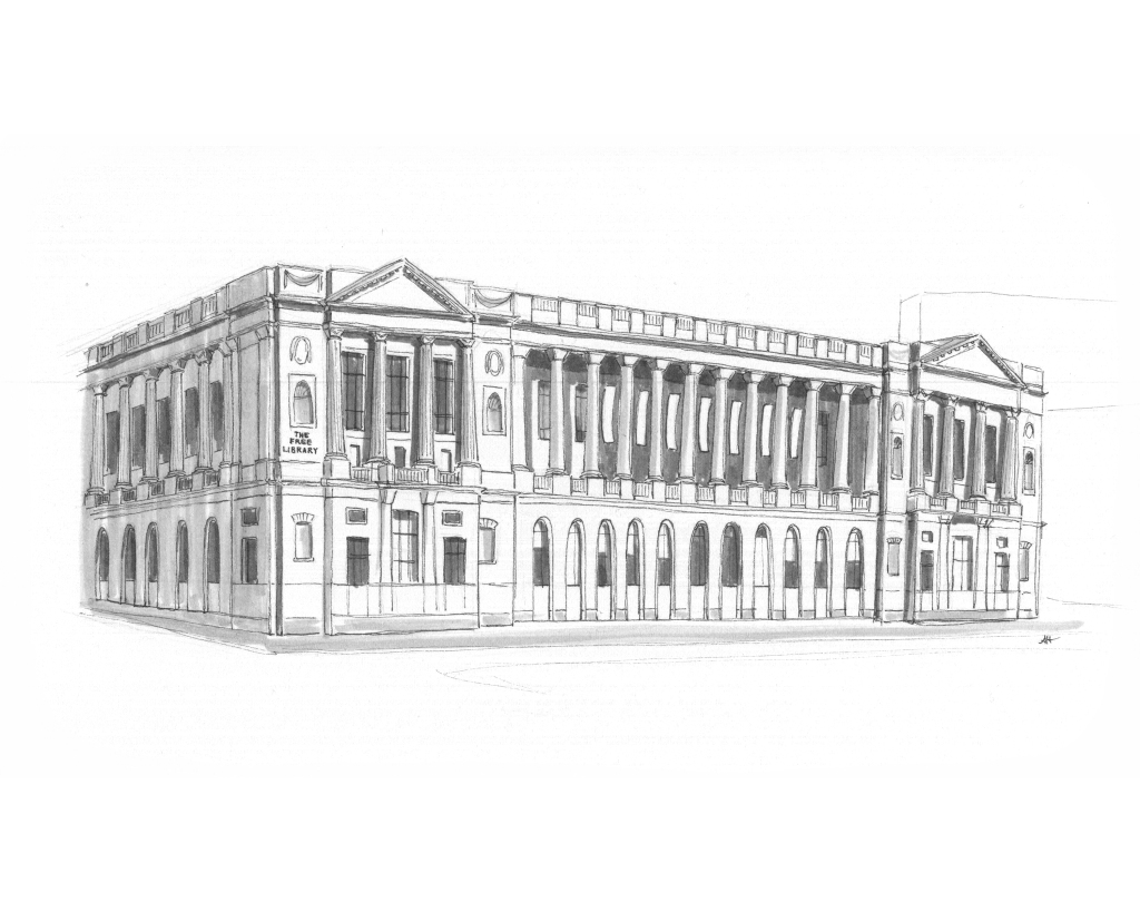 an original drawing by alleanna harris of the free library of philadelphia central parkway building