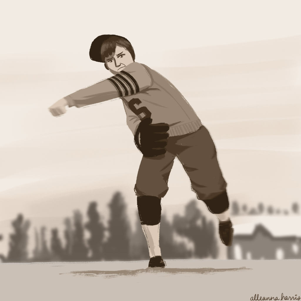 a women's history month illustration by alleanna harris of the baseball player jackie mitchell