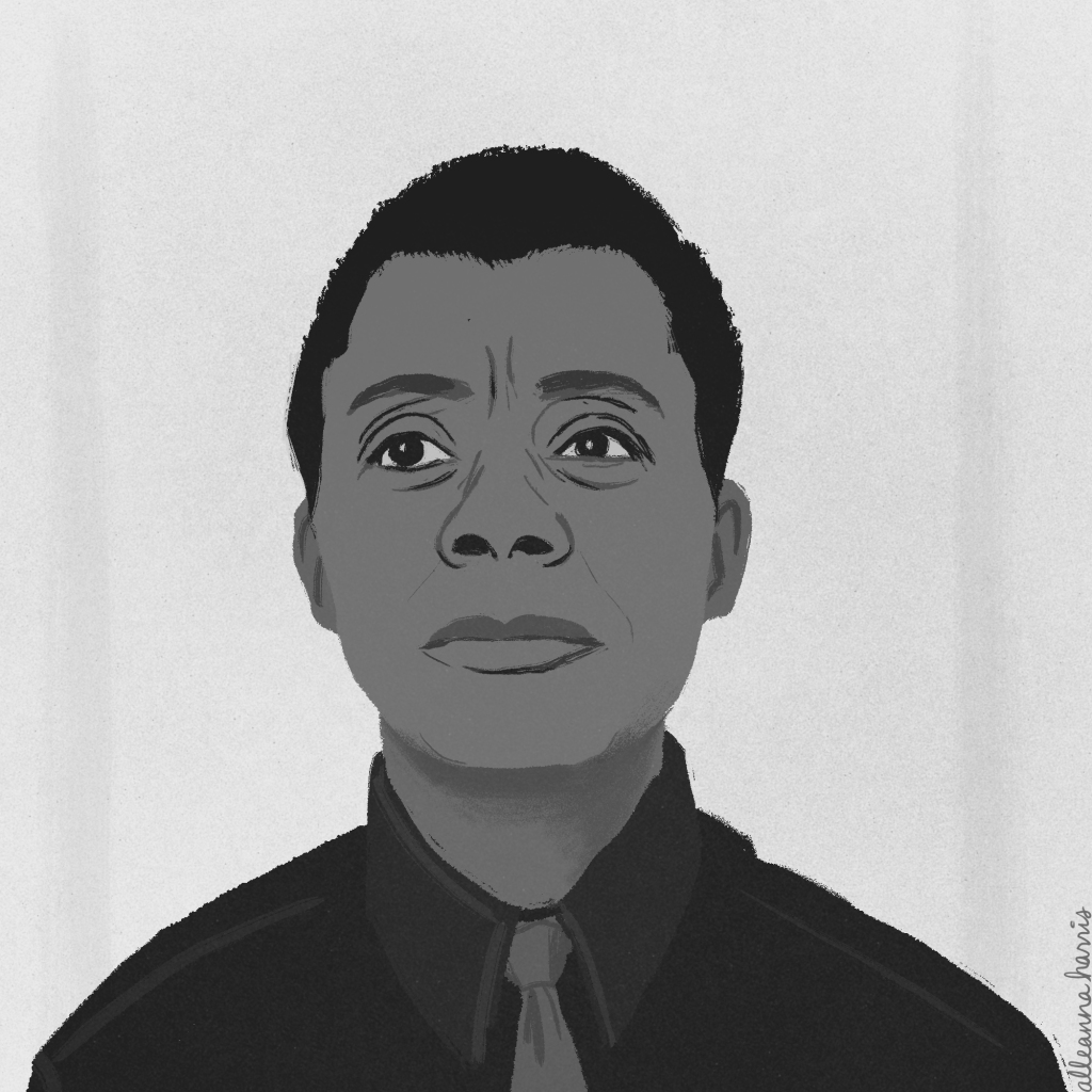 a black history month illustration by alleanna harris of the writer james baldwin